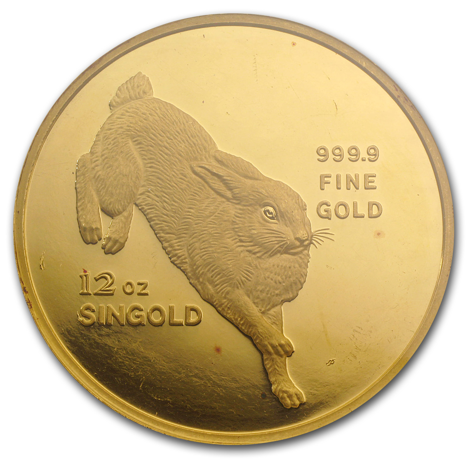 1987 12 oz Gold Singapore Singold Rabbit PF-62 NGC