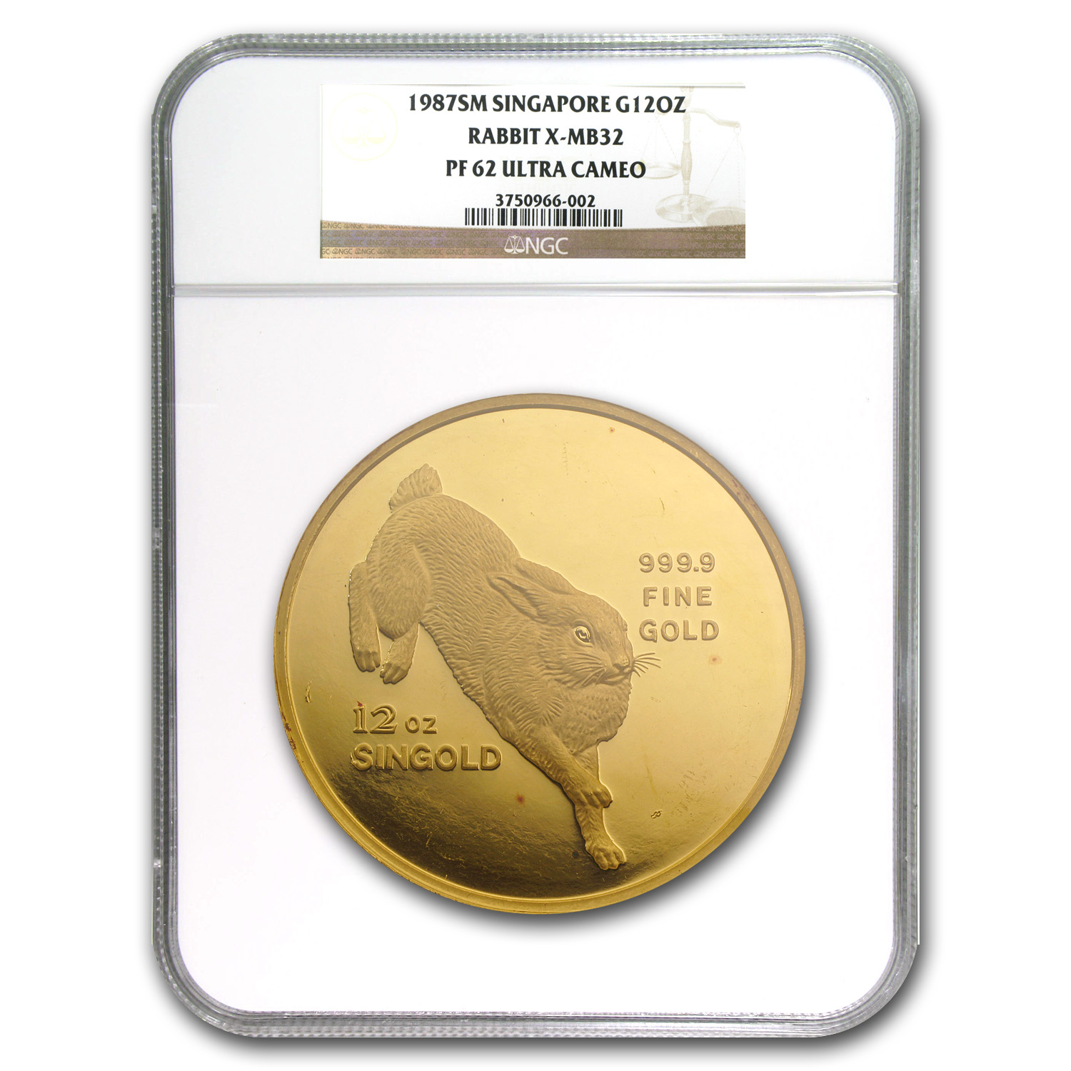1987 Singapore 12 oz Proof Gold Singold Rabbit PF-62 NGC