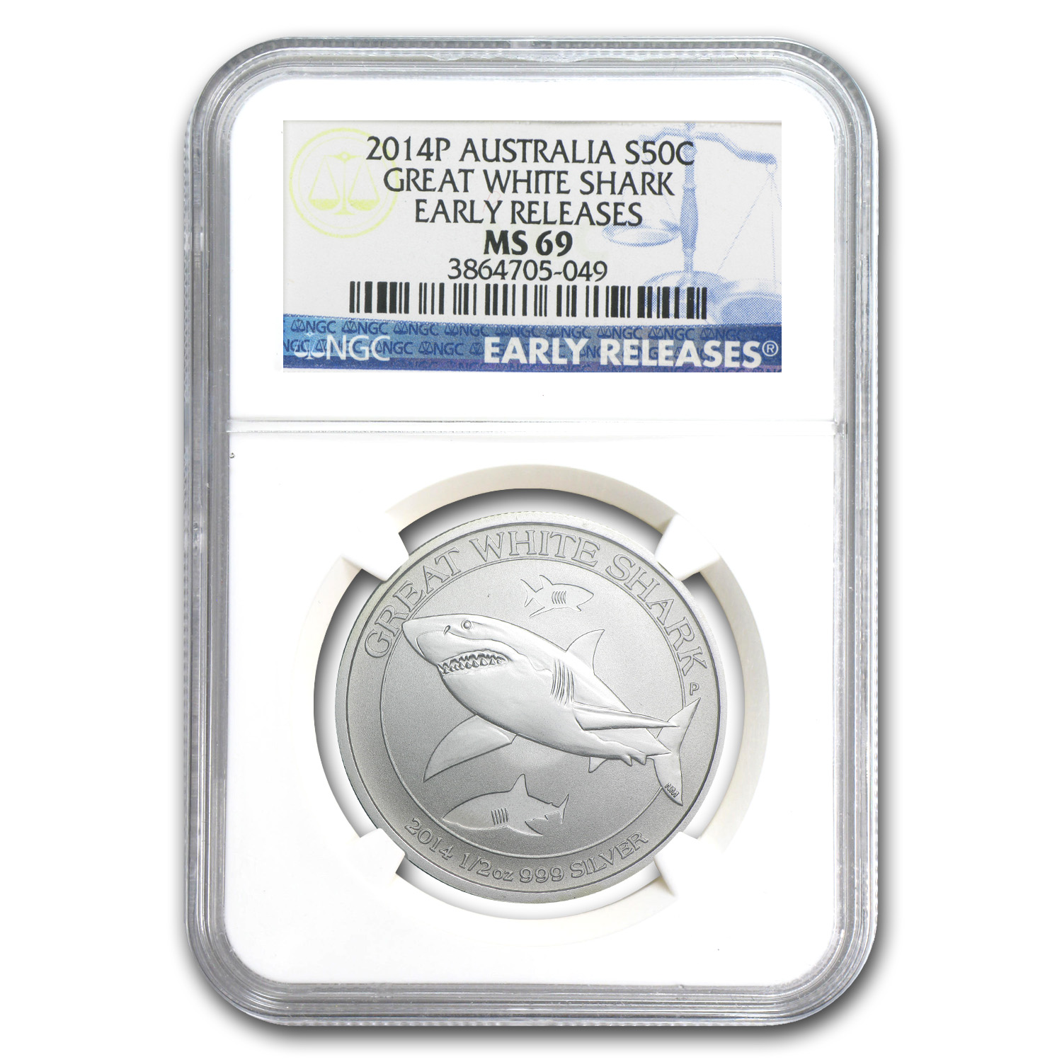 2014 Australia 1/2 oz Silver Great White Shark MS-69 NGC (ER)