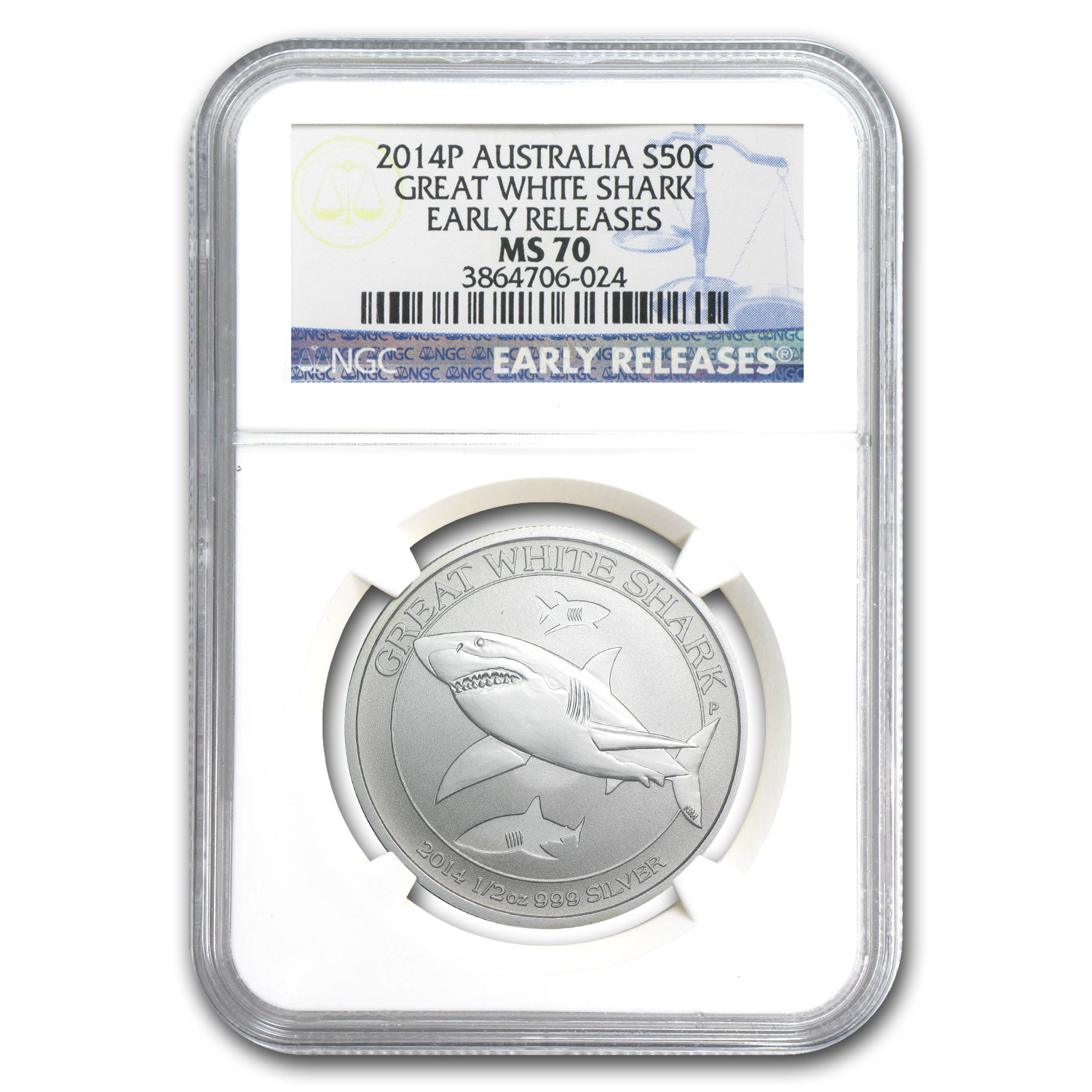 2014 Australia 1/2 oz Silver Great White Shark MS-70 NGC (ER)