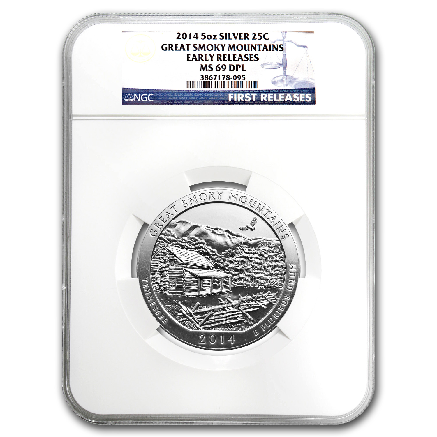 2014 5 oz Silver ATB Great Smoky Mountains MS-69 DPL NGC (ER)