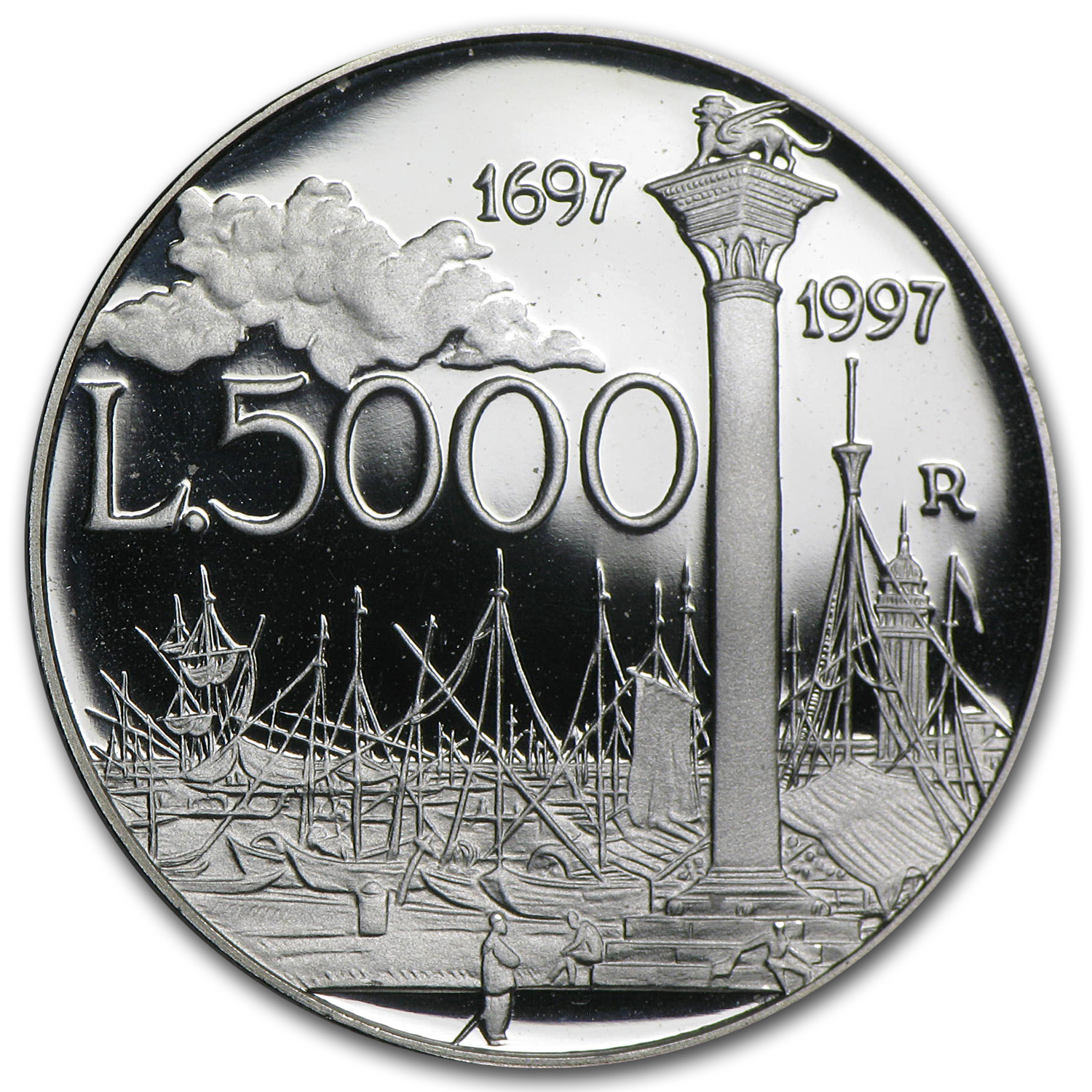 1997 Italy Silver 5000 Lire Canaletto