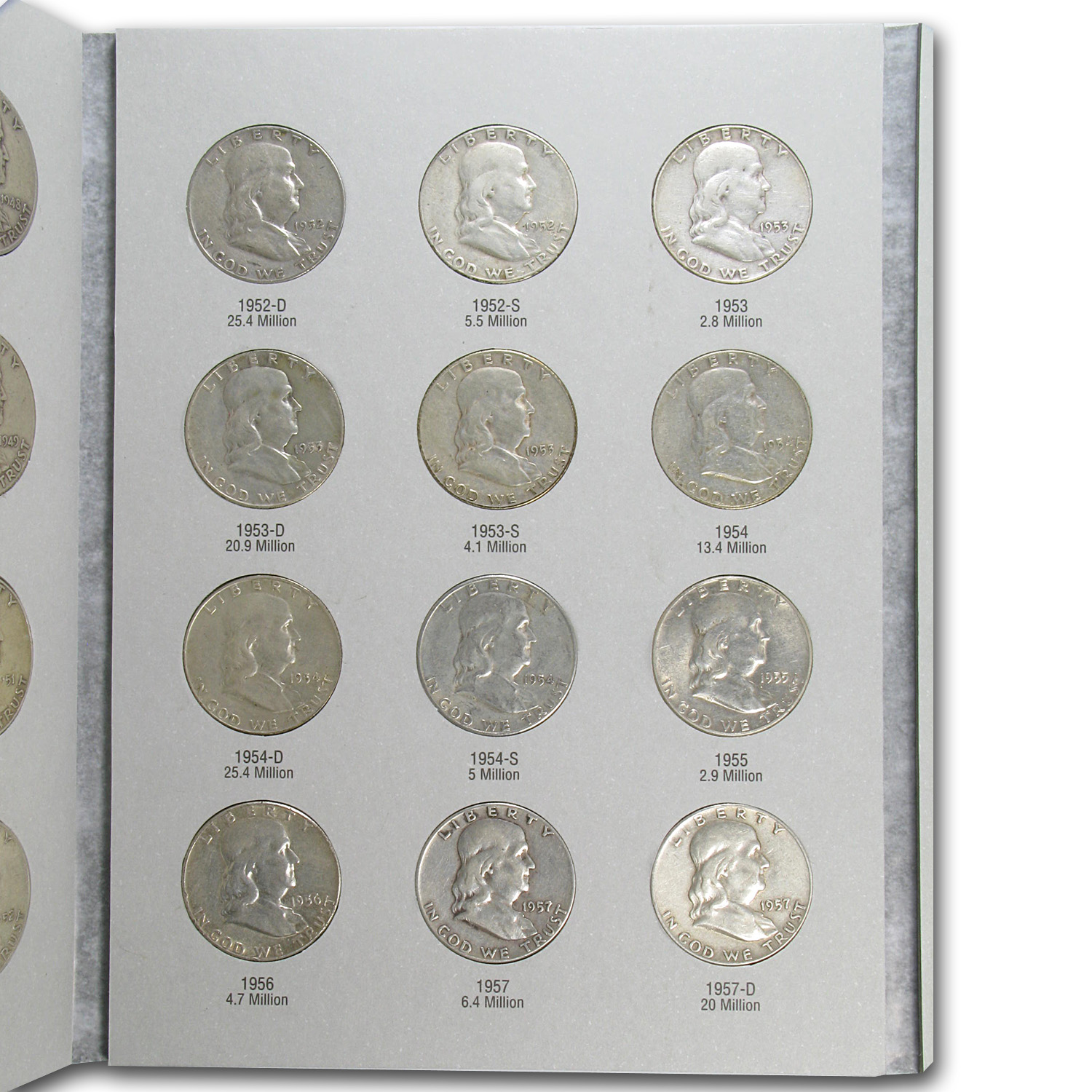 Franklin Half Dollar Set (Average Circulated in Harris Album)