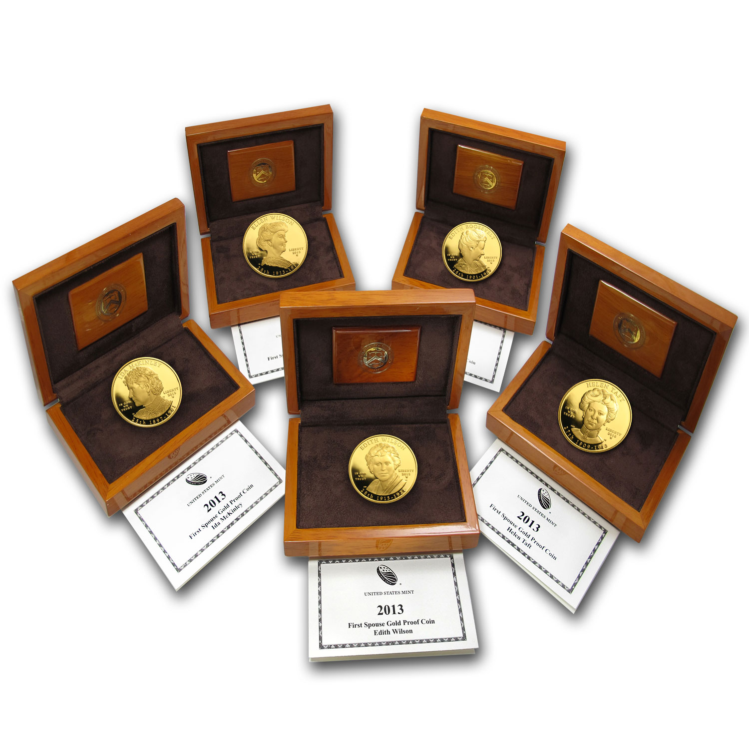 2013-W 5-Coin 1/2 oz Proof Gold First Spouse Set (w/Box & COA)