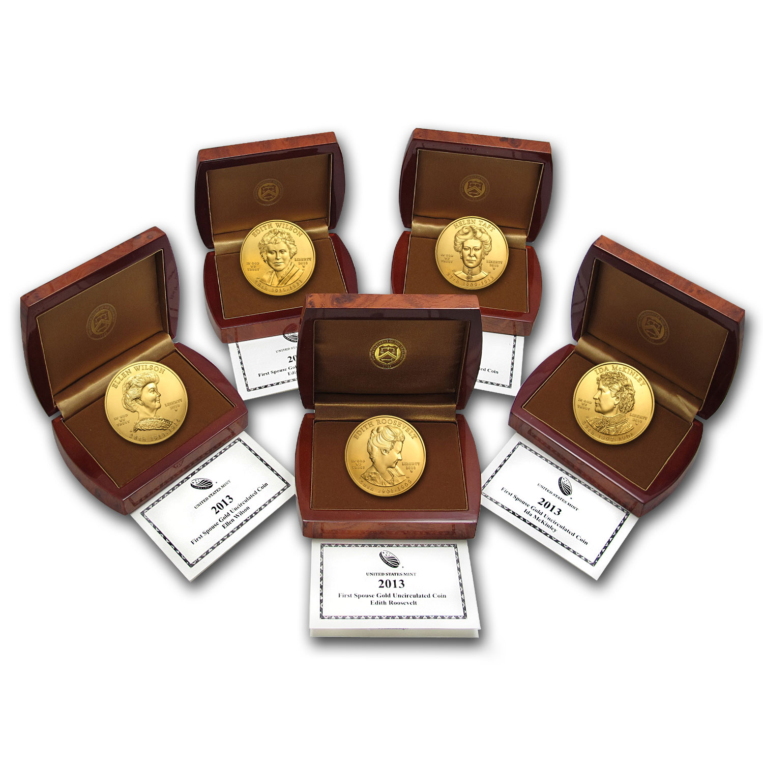 2013-W 1/2 oz Uncirculated First Spouse 5-Coin Set (W/Box & Coa)