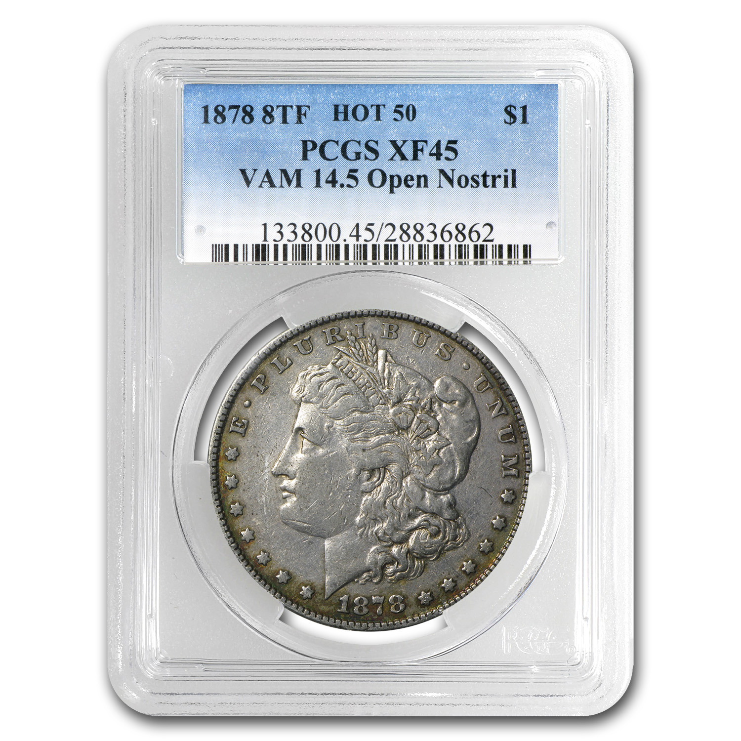 1878 Morgan Dollar 8 TF XF-45 PCGS (VAM-14.5, Open Nostril)