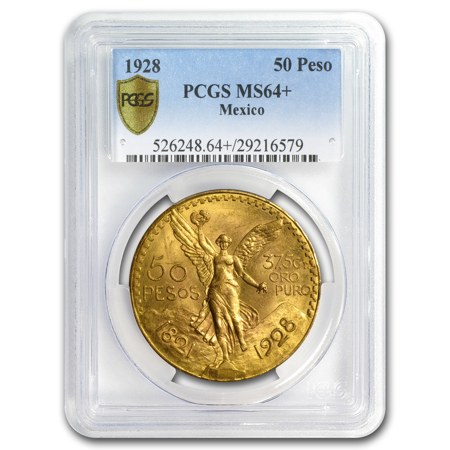 1928 Mexico Gold 50 Pesos MS-64+ PCGS (Secure Plus)