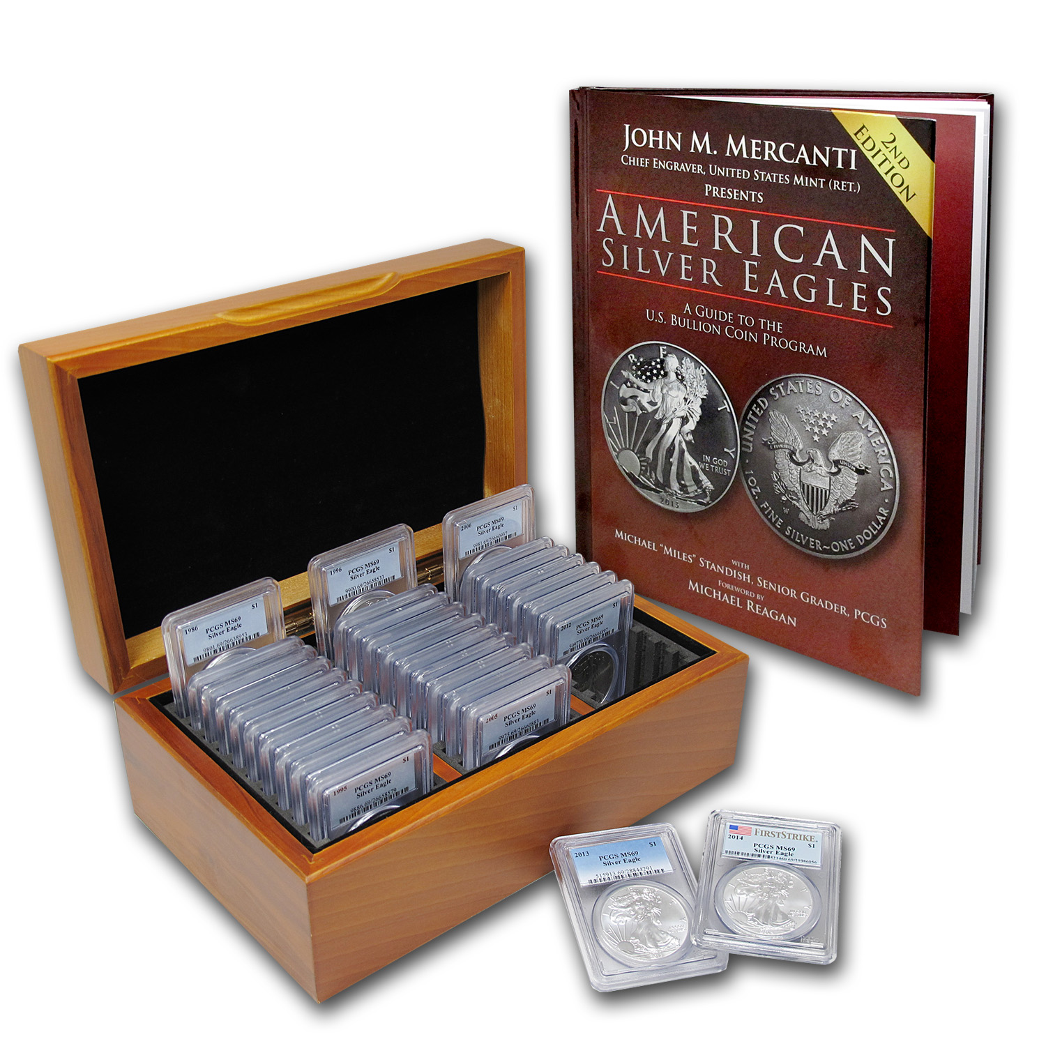 1986-2014 29-Coin Silver Eagle Set MS-69 PCGS (Wood Box)