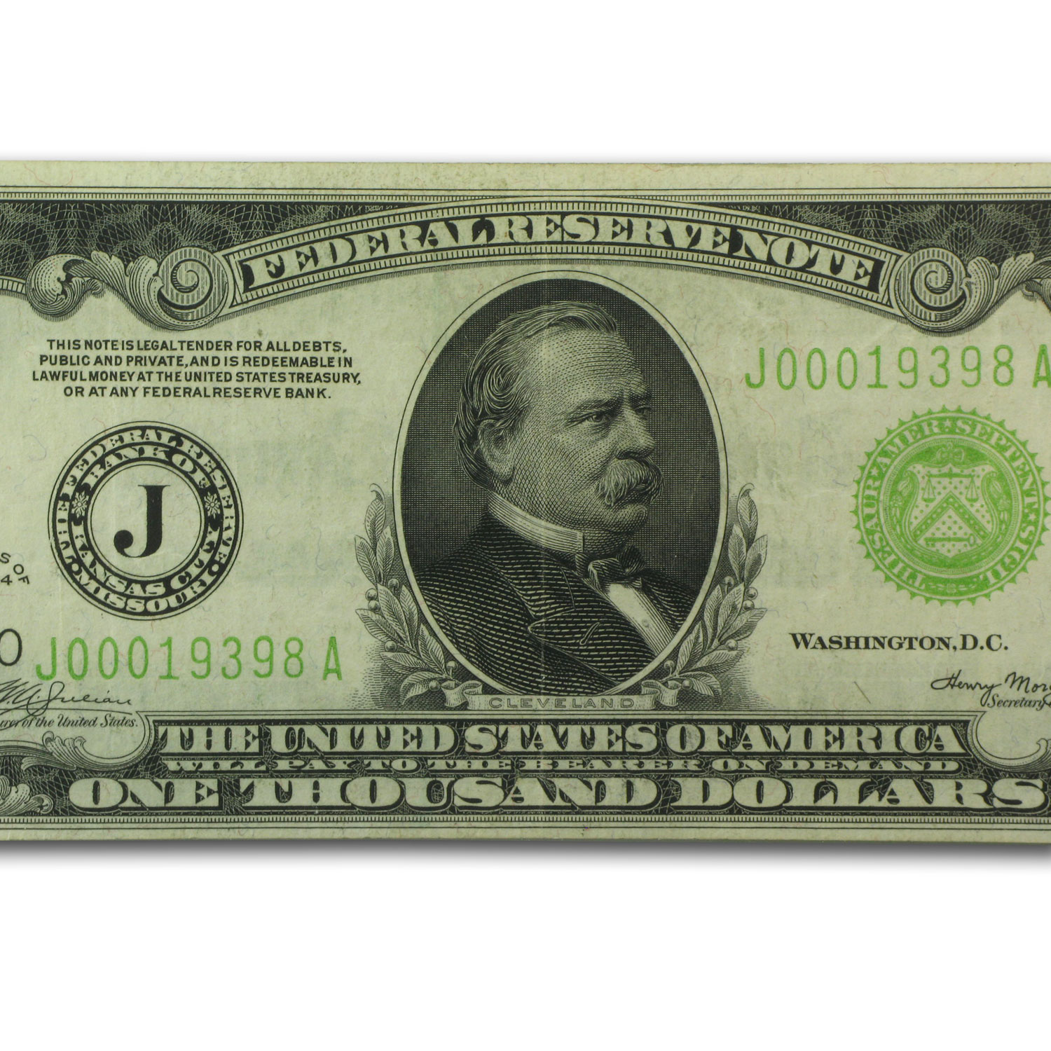 1934 (J-Kansas City) $1,000 FRN VF+ (Light Green Seal)