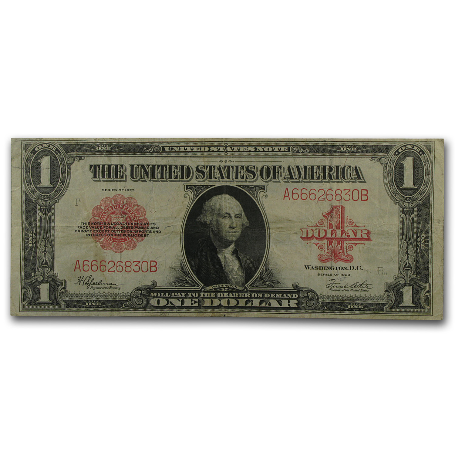 1923 $1 U.S. Note Red Seal - (Very Fine)