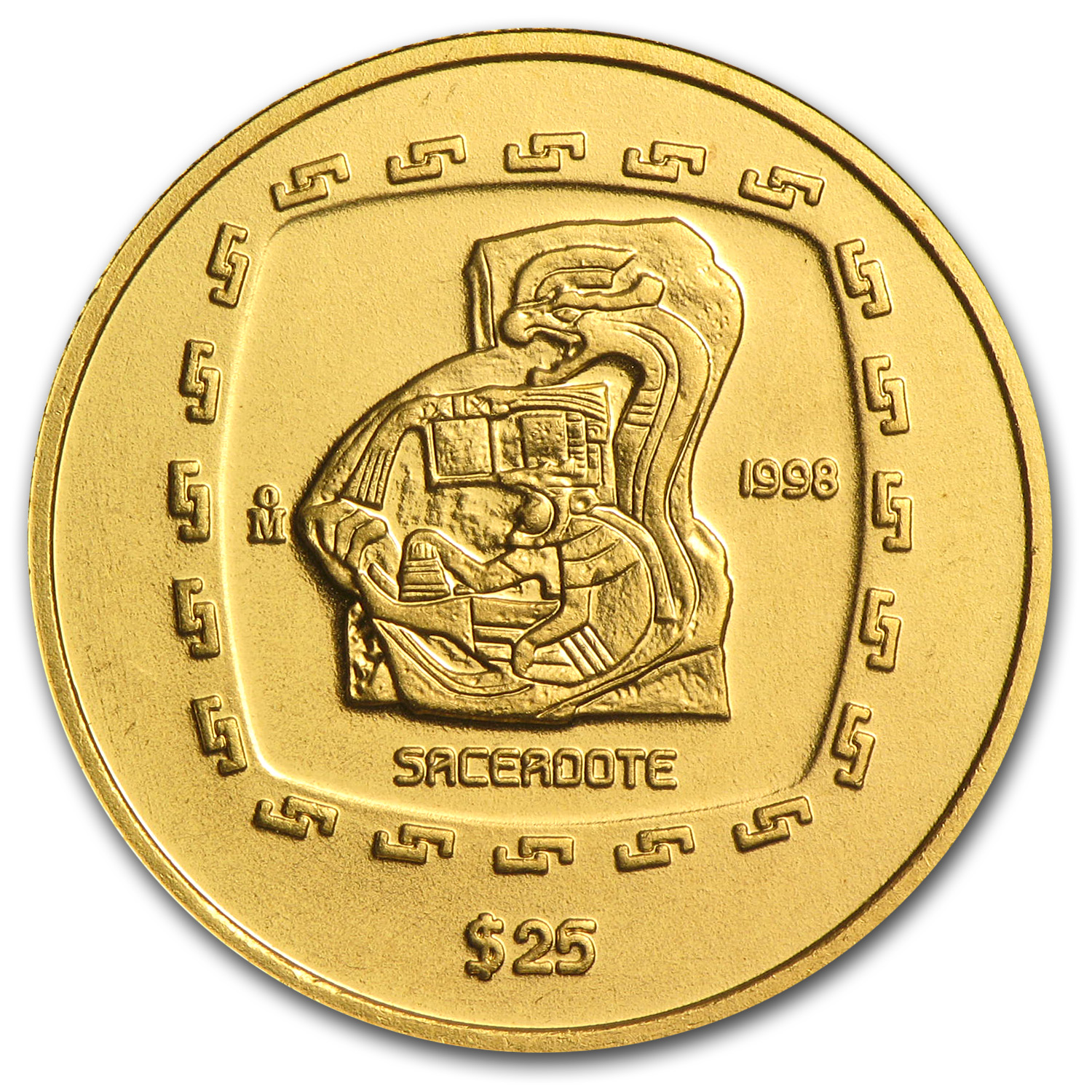 1998 Mexico 25 Pesos Gold Sacerdote Brilliant Uncirculated