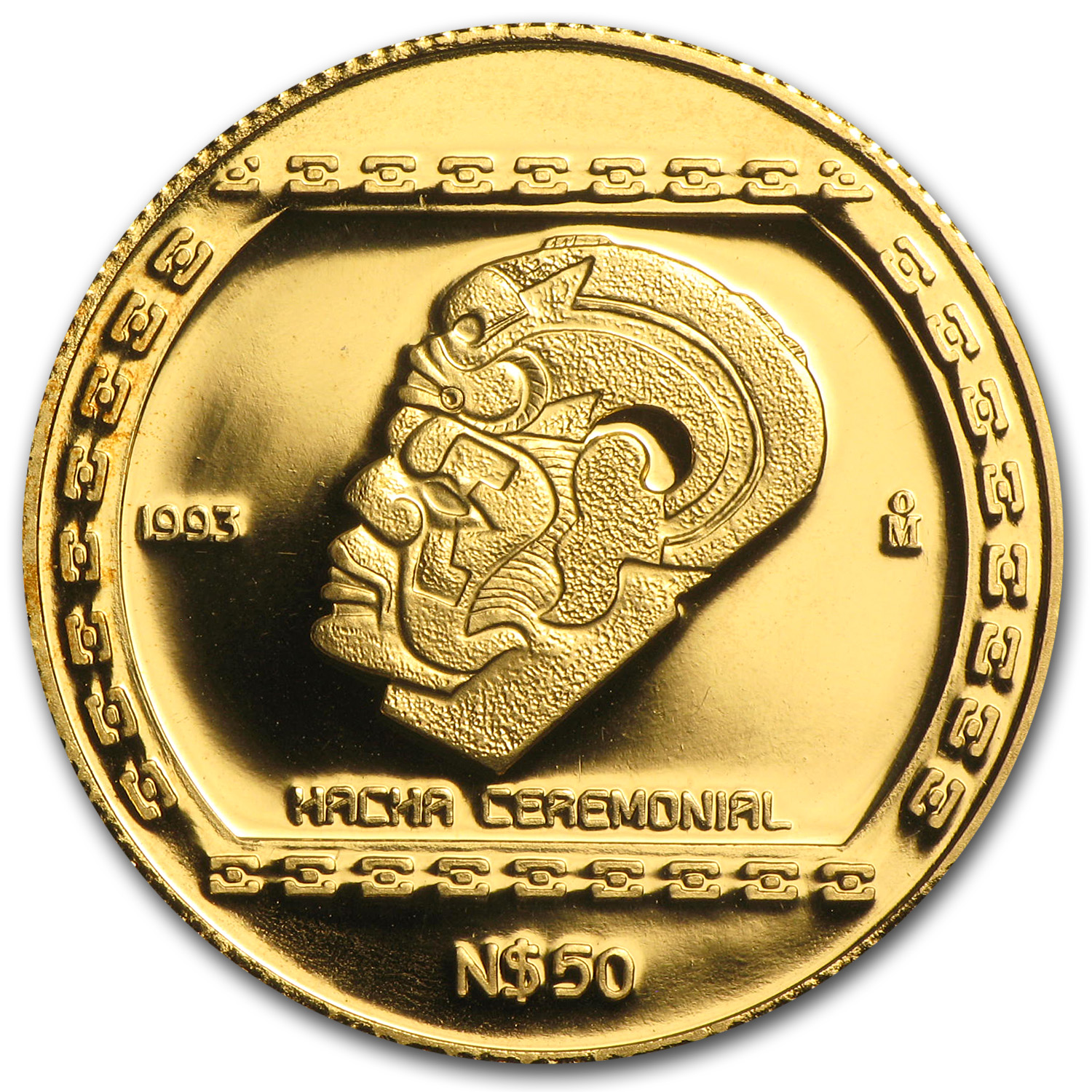 1993 Mexico 50 Pesos Gold Proof Hacha Ceremonial