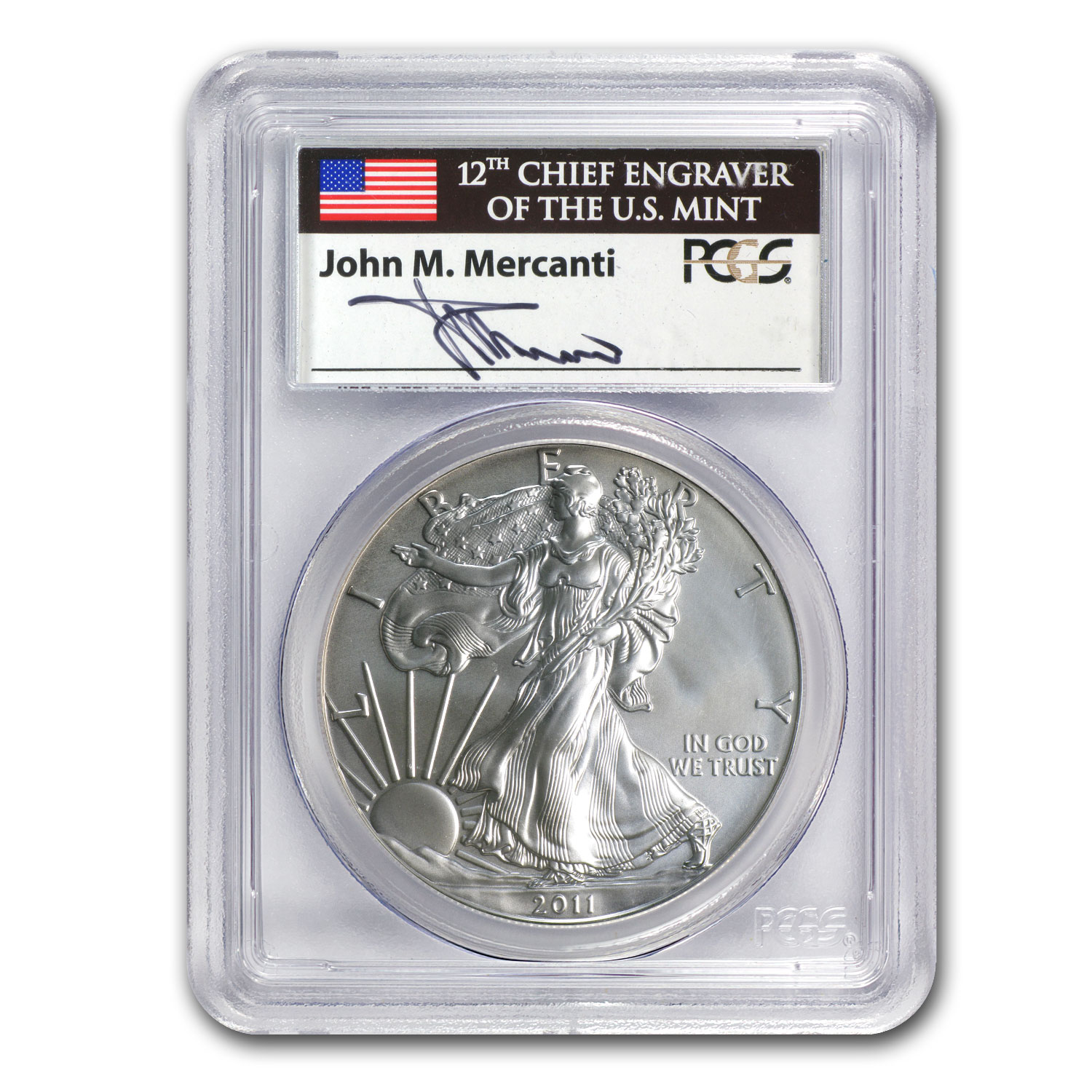 2011-W Burnished Silver Eagle MS-69 PCGS (25th Anniv, Mercanti)