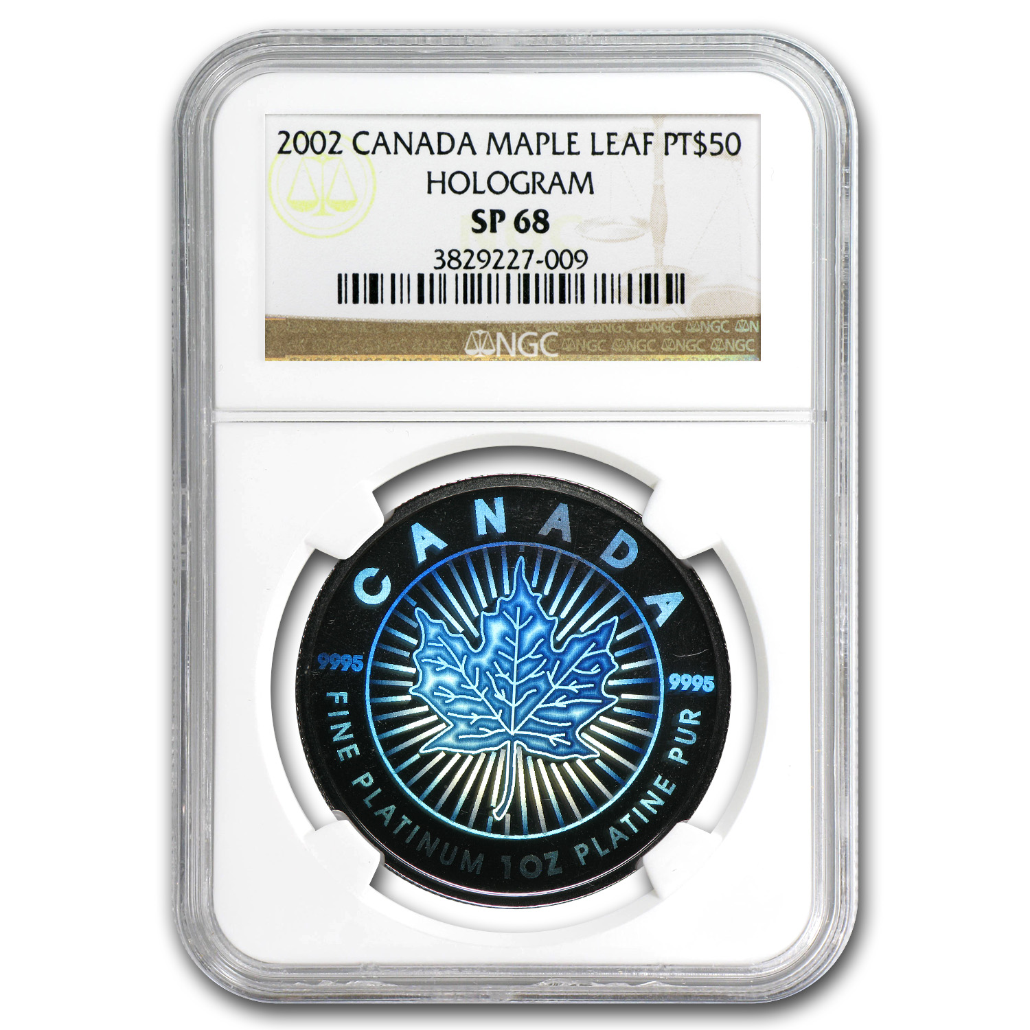 2002 Canada 1 oz Platinum Maple Leaf SP-68 NGC (Hologram)