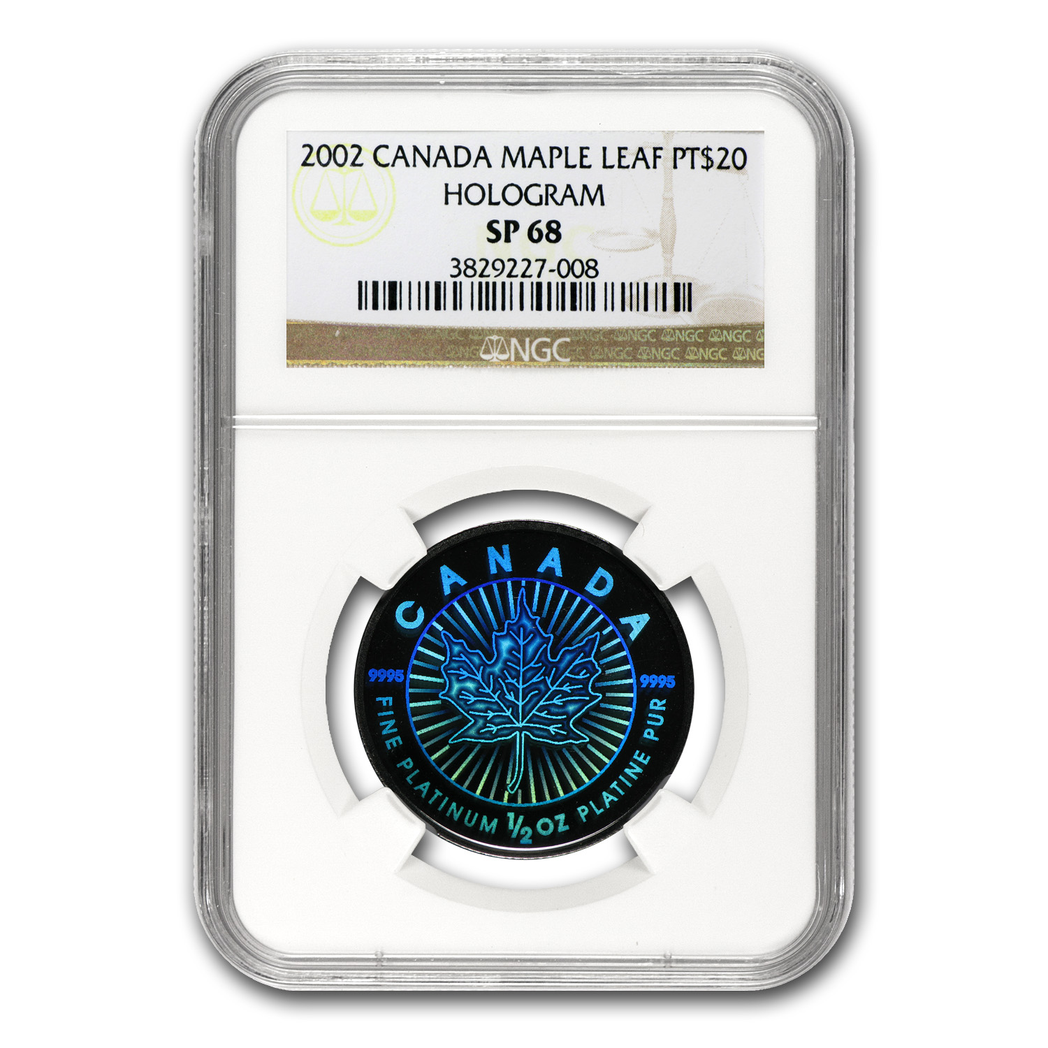 2002 1/2 oz Canadian Platinum Maple Leaf SP-68 NGC (Hologram)