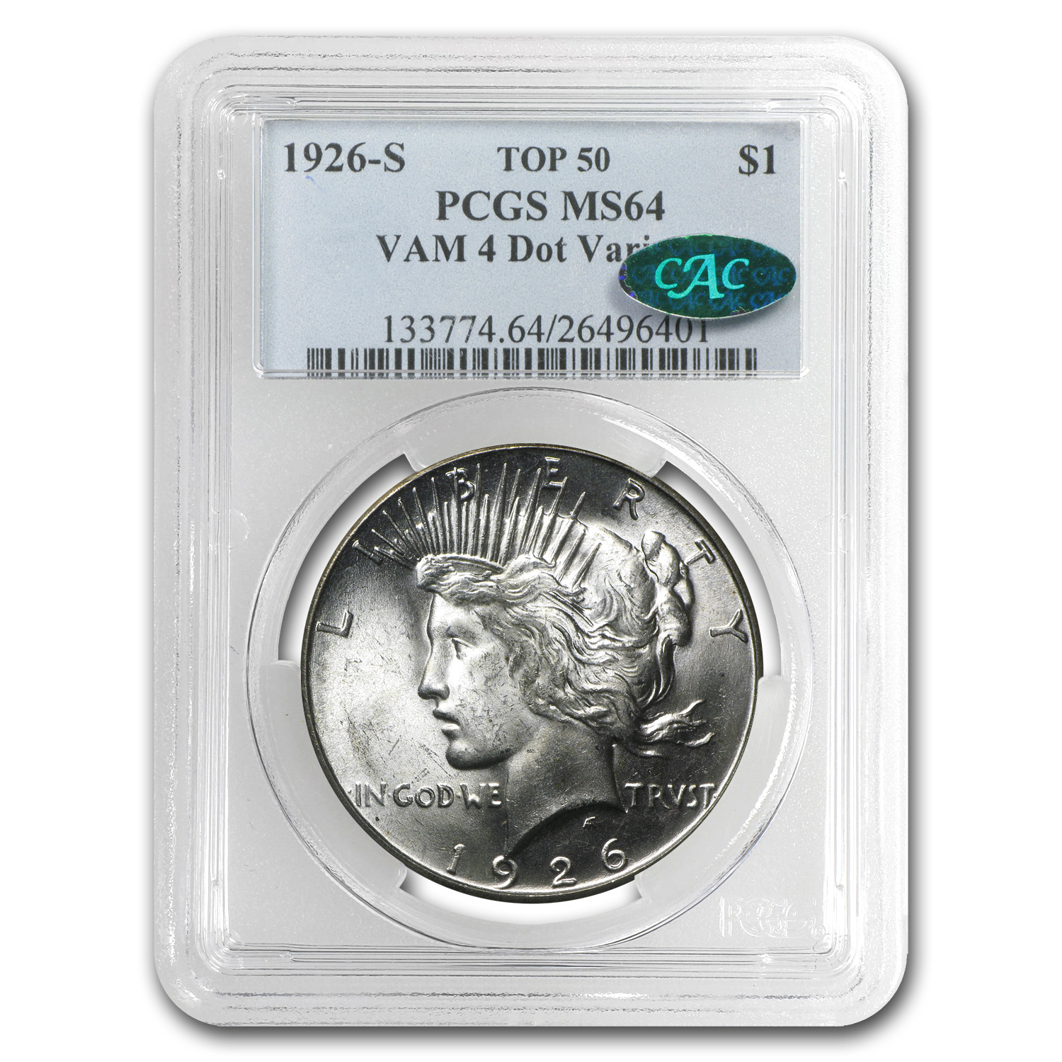 1926-S Peace Dollar MS-64 PCGS (VAM-4, Dot Variety, CAC, Top-50)