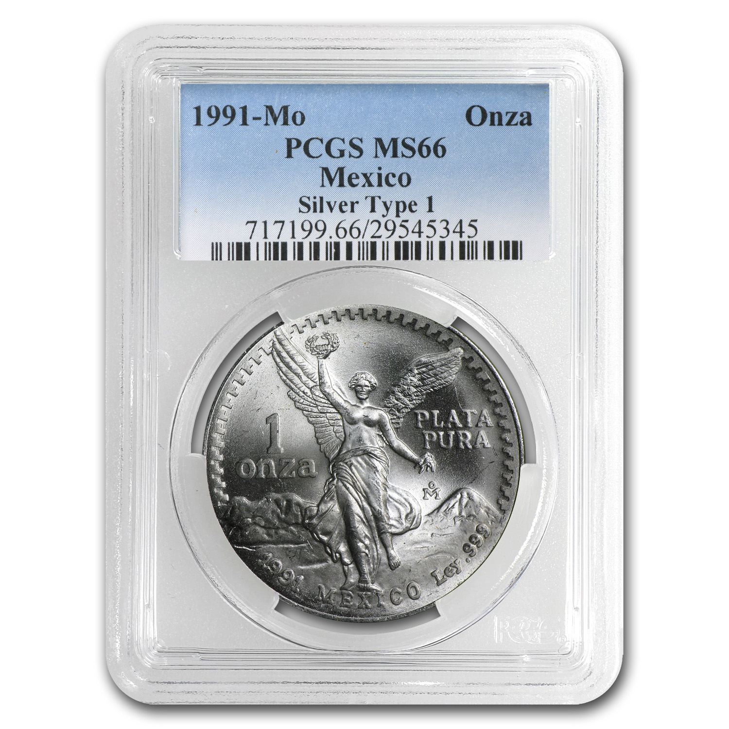 1991 1 oz Silver Mexican Libertad Type 1 MS-66 PCGS