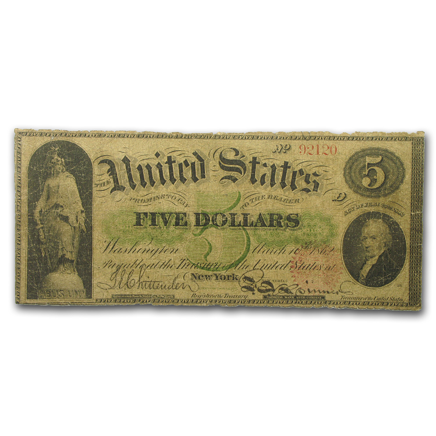 1863 Legal Tender $5.00 Alexander Hamilton (Very Good)
