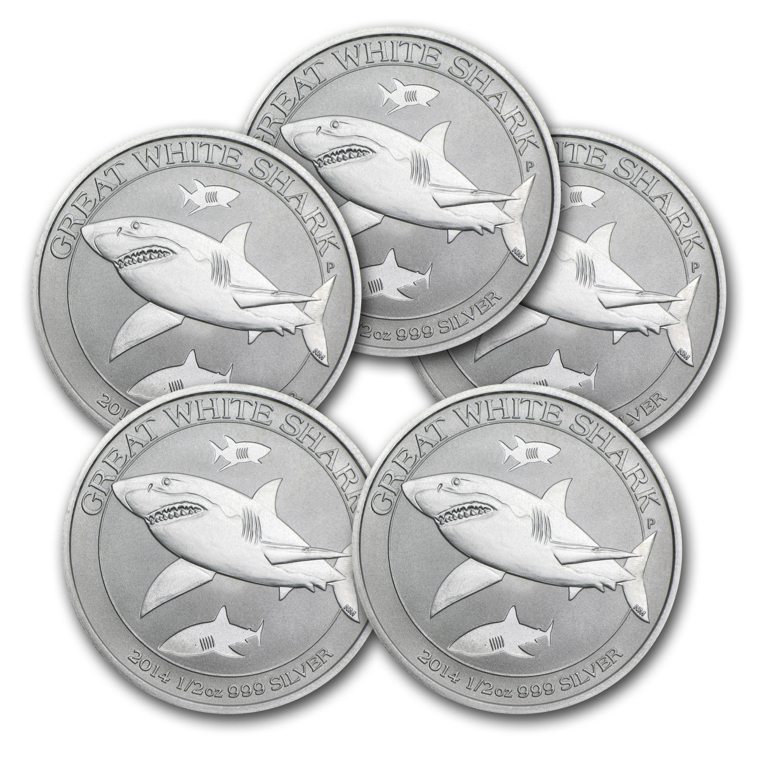 2014 Australia 1/2 oz Silver Great White Shark (Lot of 5)