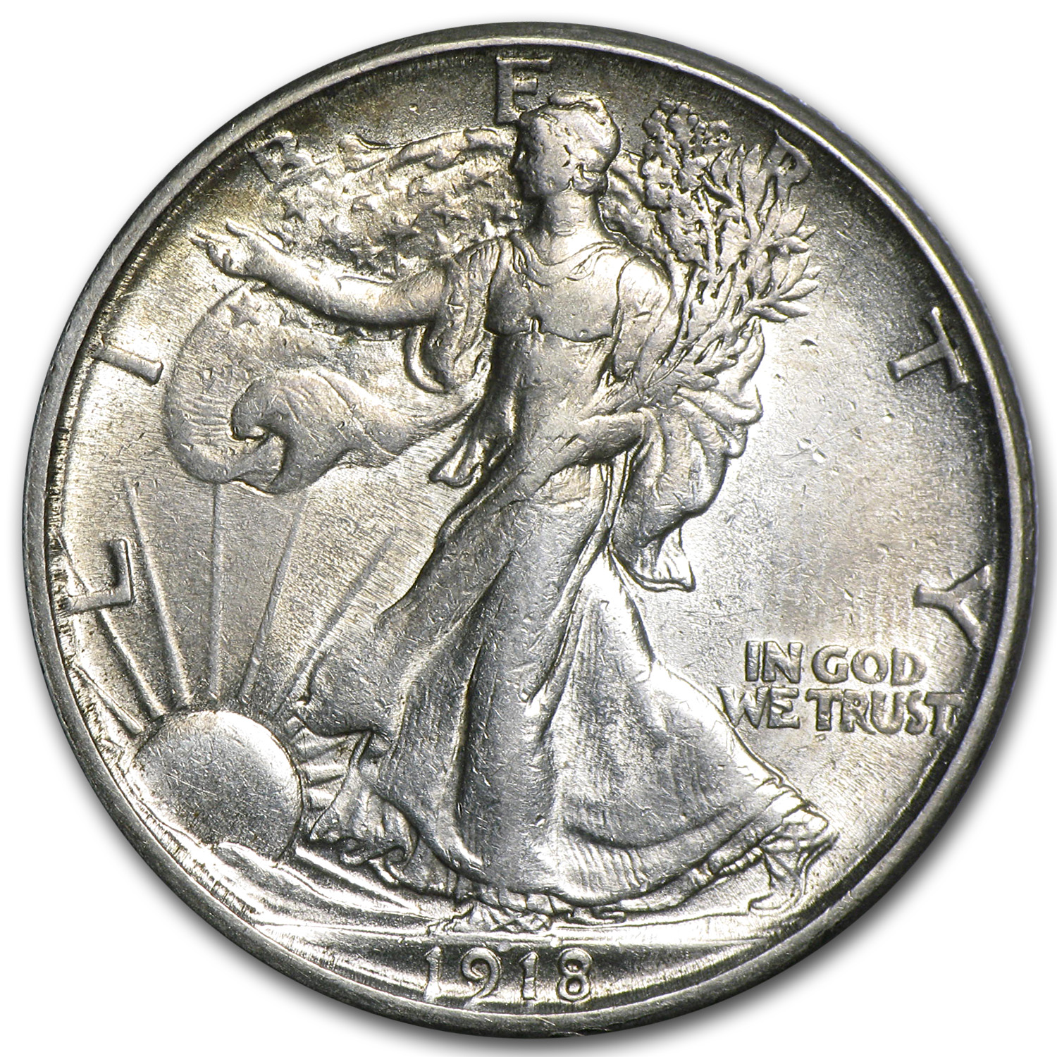 1918-S Walking Liberty Half Dollar AU