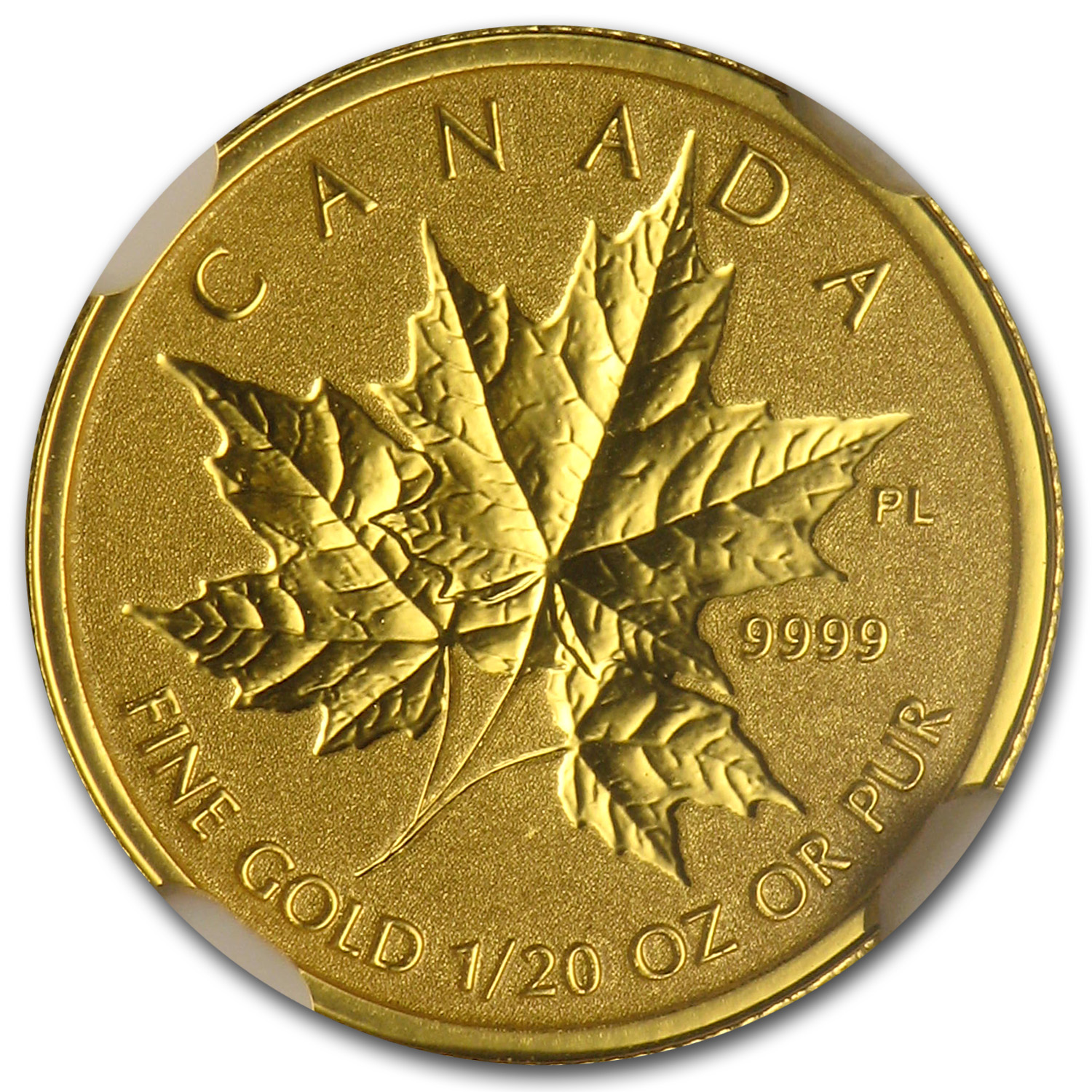 2014 1/20 oz Gold Canadian Reverse Proof Maple Leaf PF-69 NGC