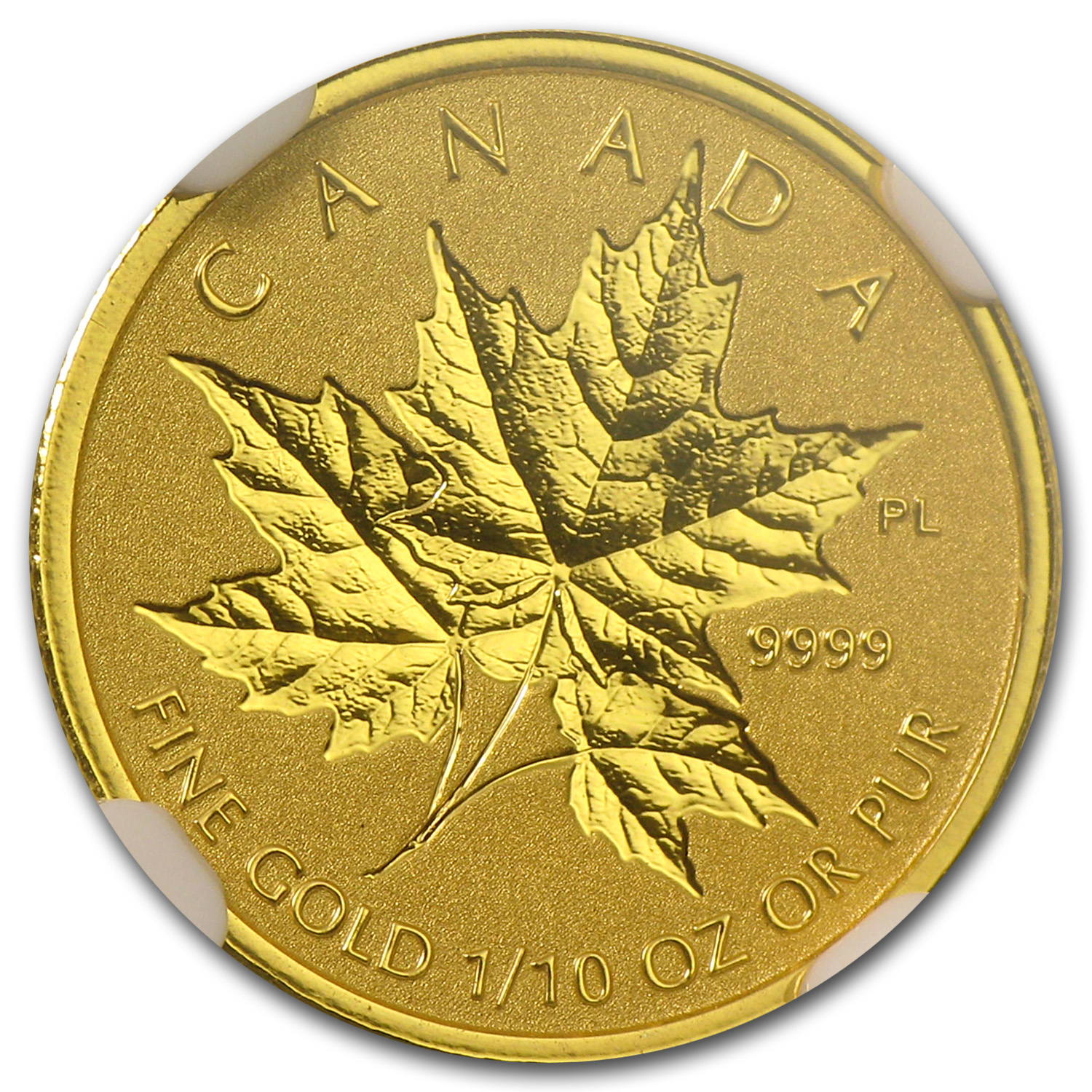 2014 1/10 oz Gold Canadian Reverse Proof Maple Leaf PF-70 NGC
