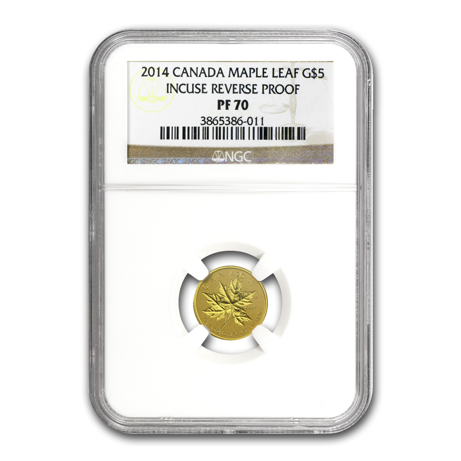 2014 Canada 1/10 oz Reverse Proof Gold Maple Leaf PF-70 NGC