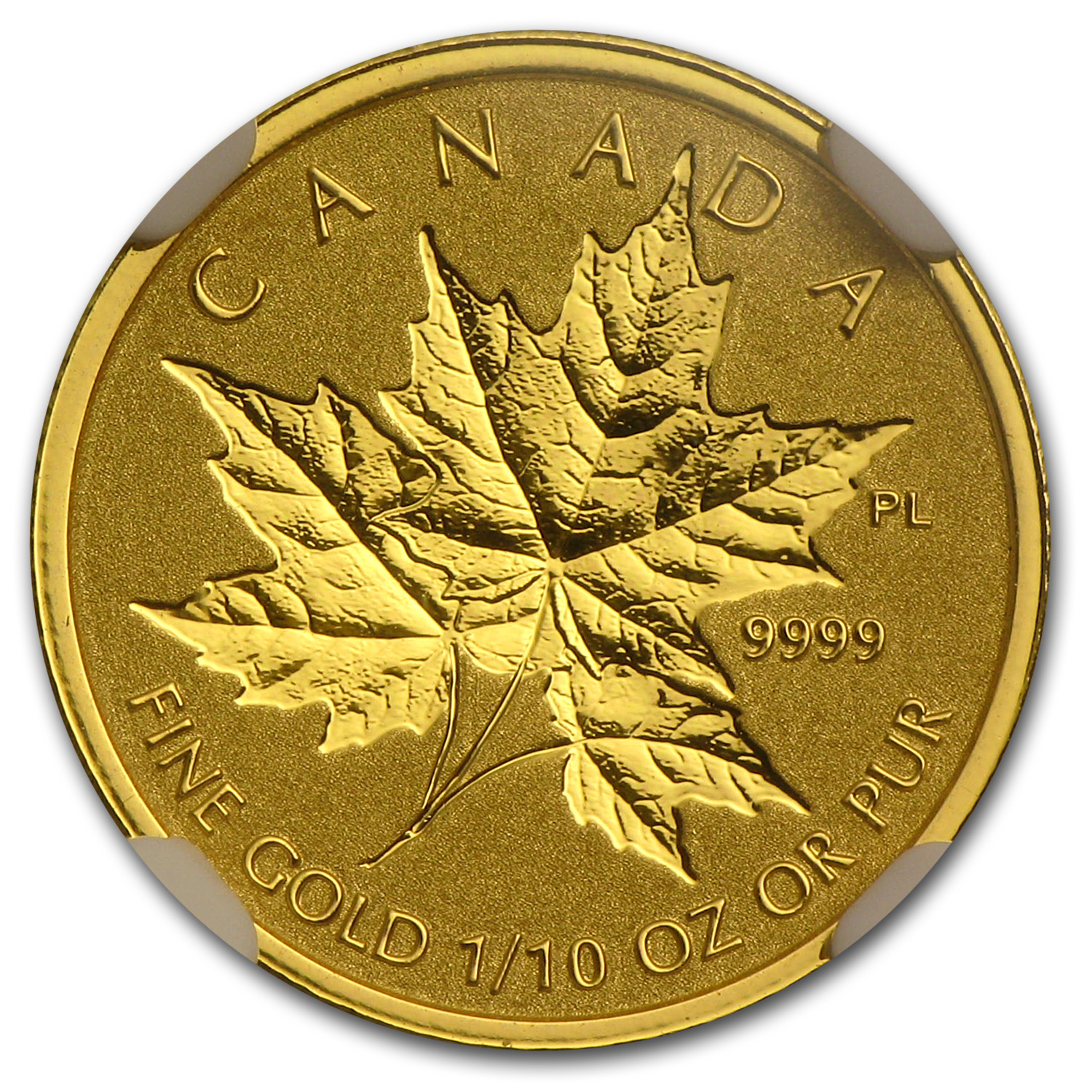 2014 1/10 oz Gold Canadian Reverse Proof Maple Leaf PF-69 NGC