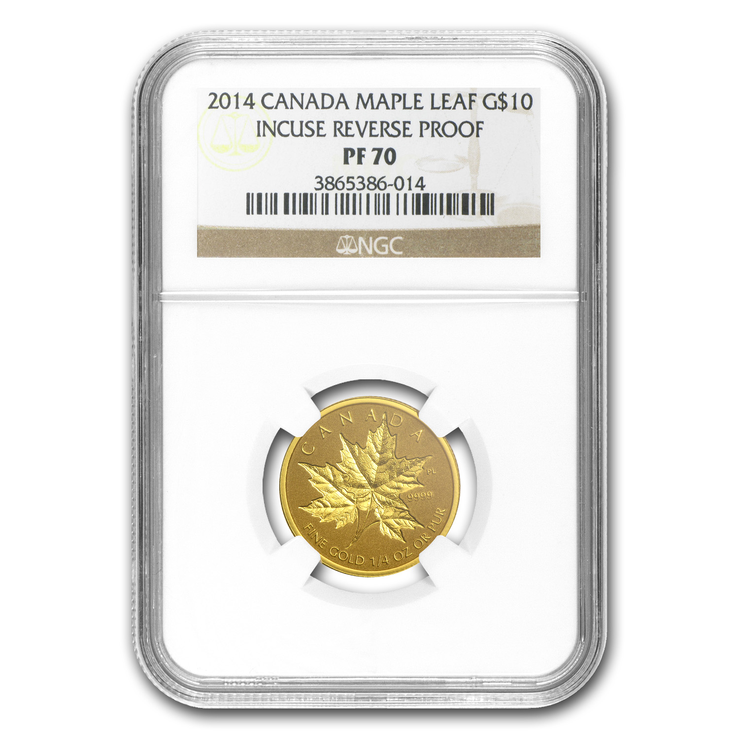 2014 1/4 oz Gold Canadian Reverse Proof Maple Leaf PF-70 NGC