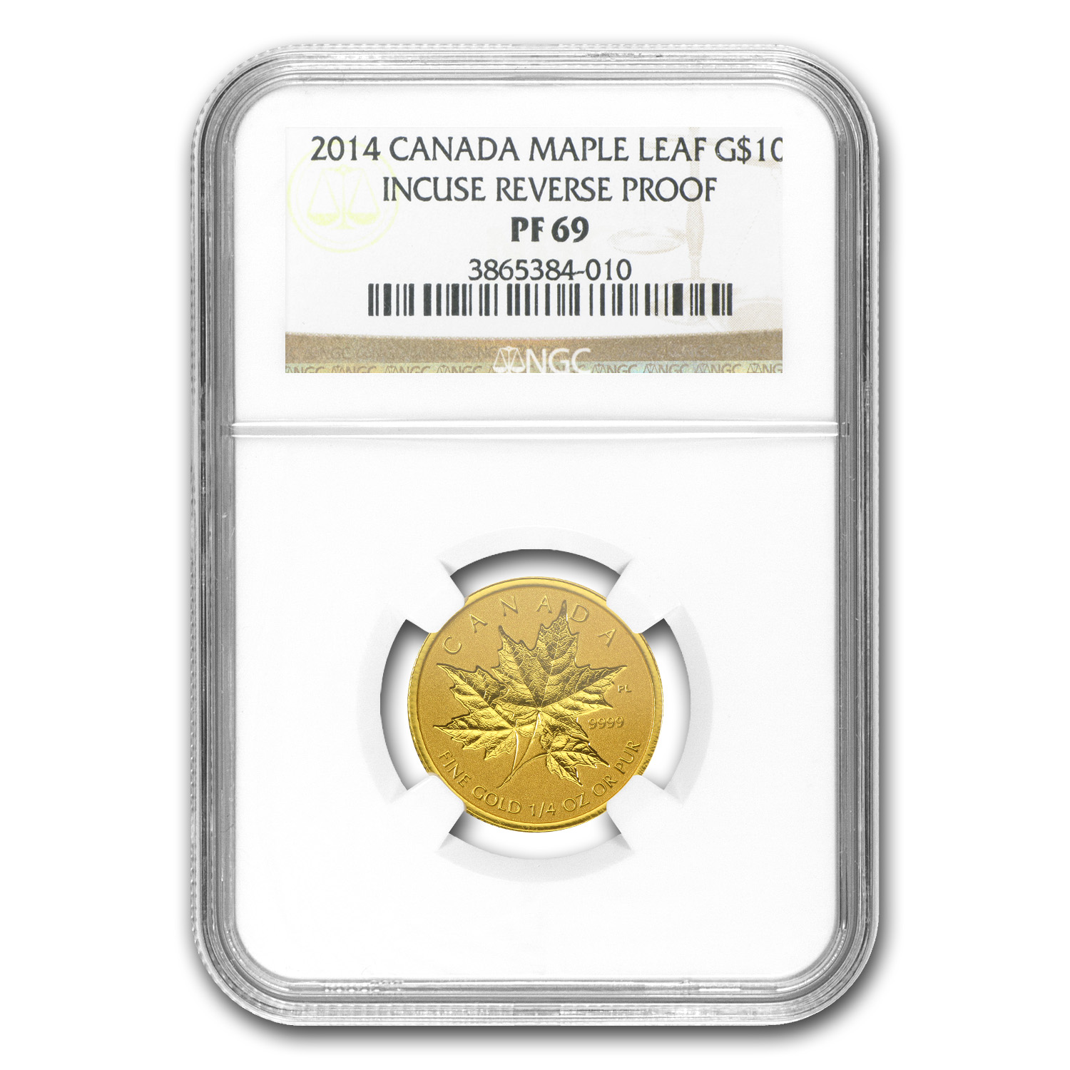 2014 1/4 oz Gold Canadian Reverse Proof Maple Leaf PF-69 NGC