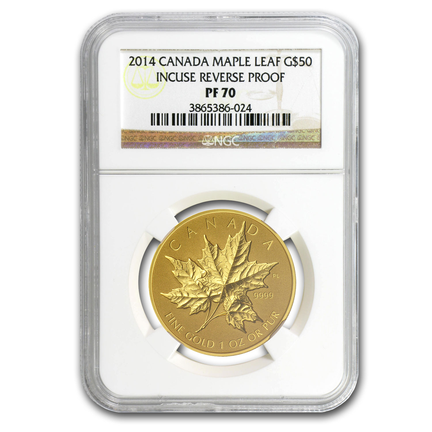 2014 1 oz Gold Canadian Reverse Proof Maple Leaf PF-70 NGC