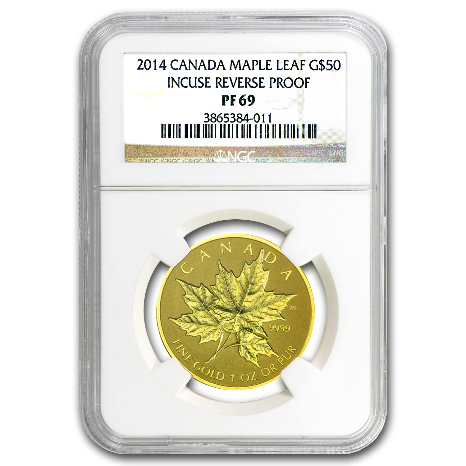 2014 1 oz Gold Canadian Reverse Proof Maple Leaf PF-69 NGC