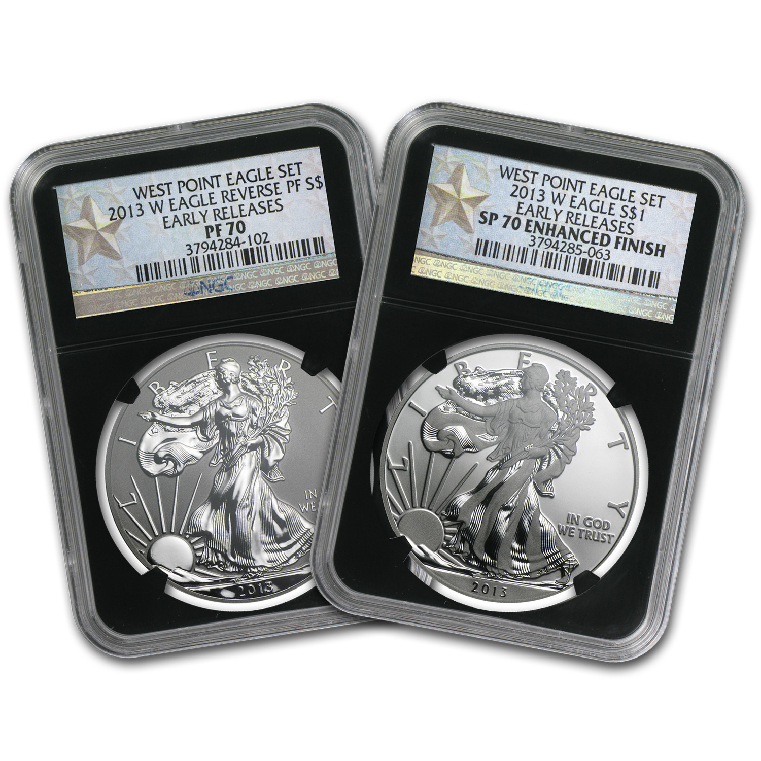 2013 2-Coin Silver Eagle Set SP/PR-70 NGC (ER, West Point, Blk)