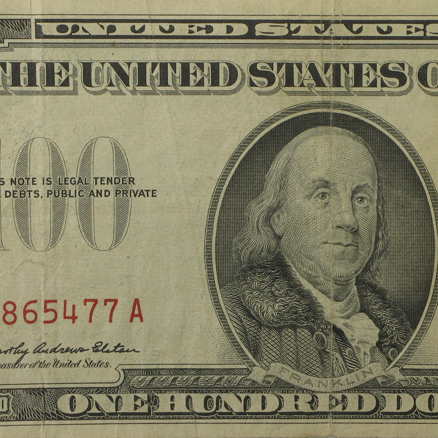1966-A $100 U.S. Note Red Seal VF