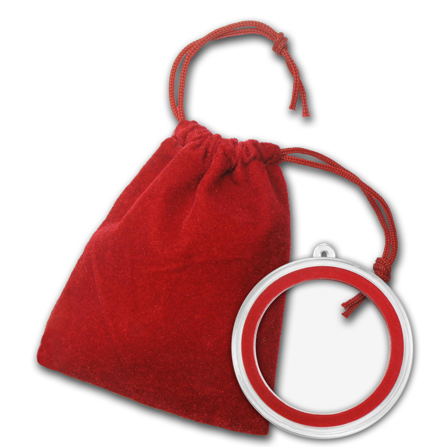 2.75 x 3 inch Red Velour Draw String Pouch w/Ornament Capsule