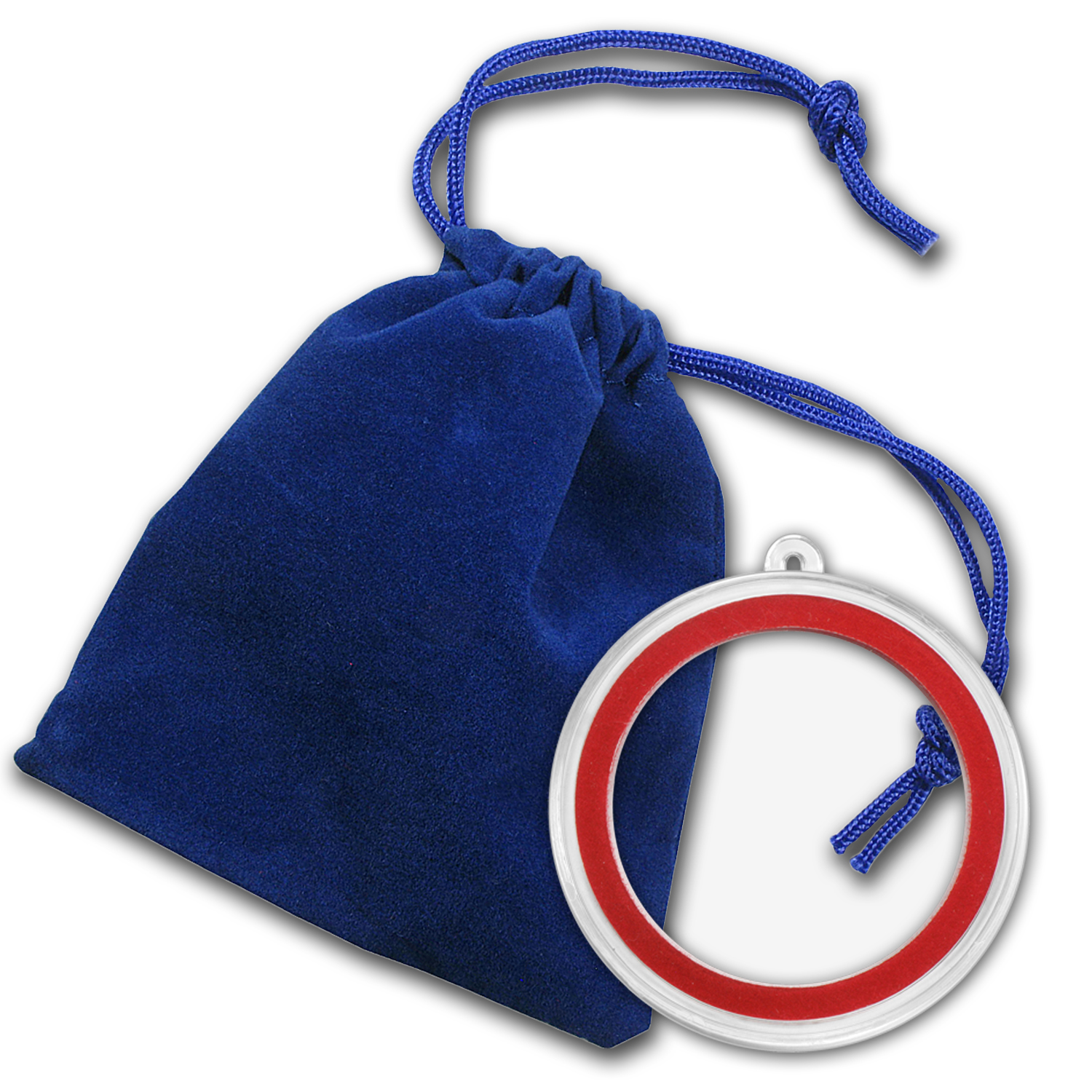 2.75 x 3 inch Blue Velour Draw String Pouch w/Ornament Capsule