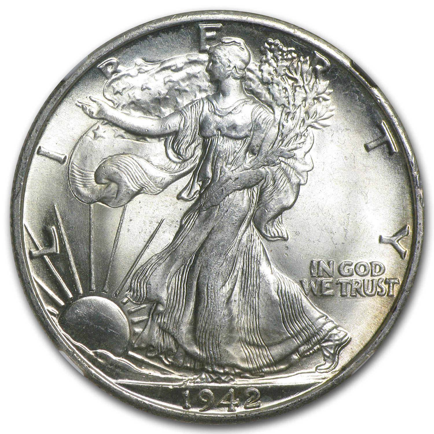 1942-D Walking Liberty Half Dollar - MS-64 NGC