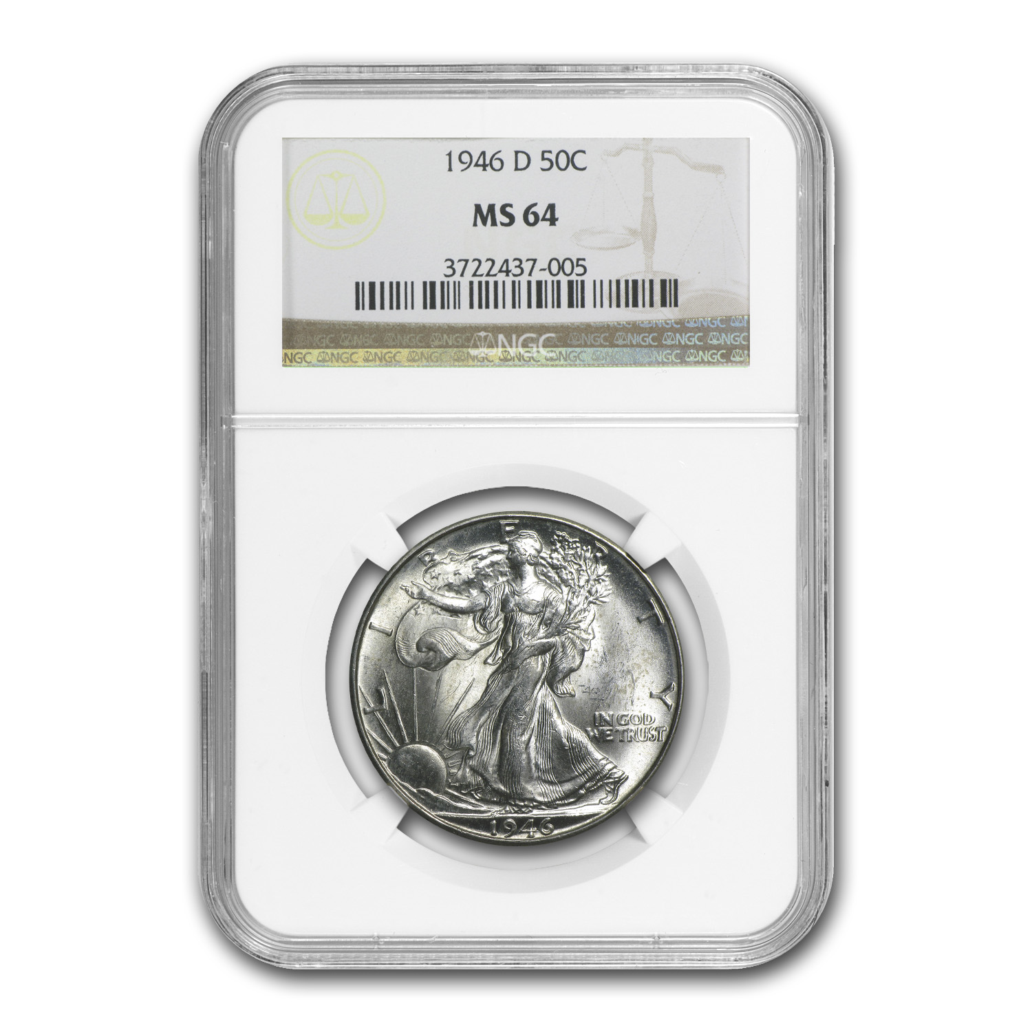 1946-D Walking Liberty Half Dollar MS-64 NGC