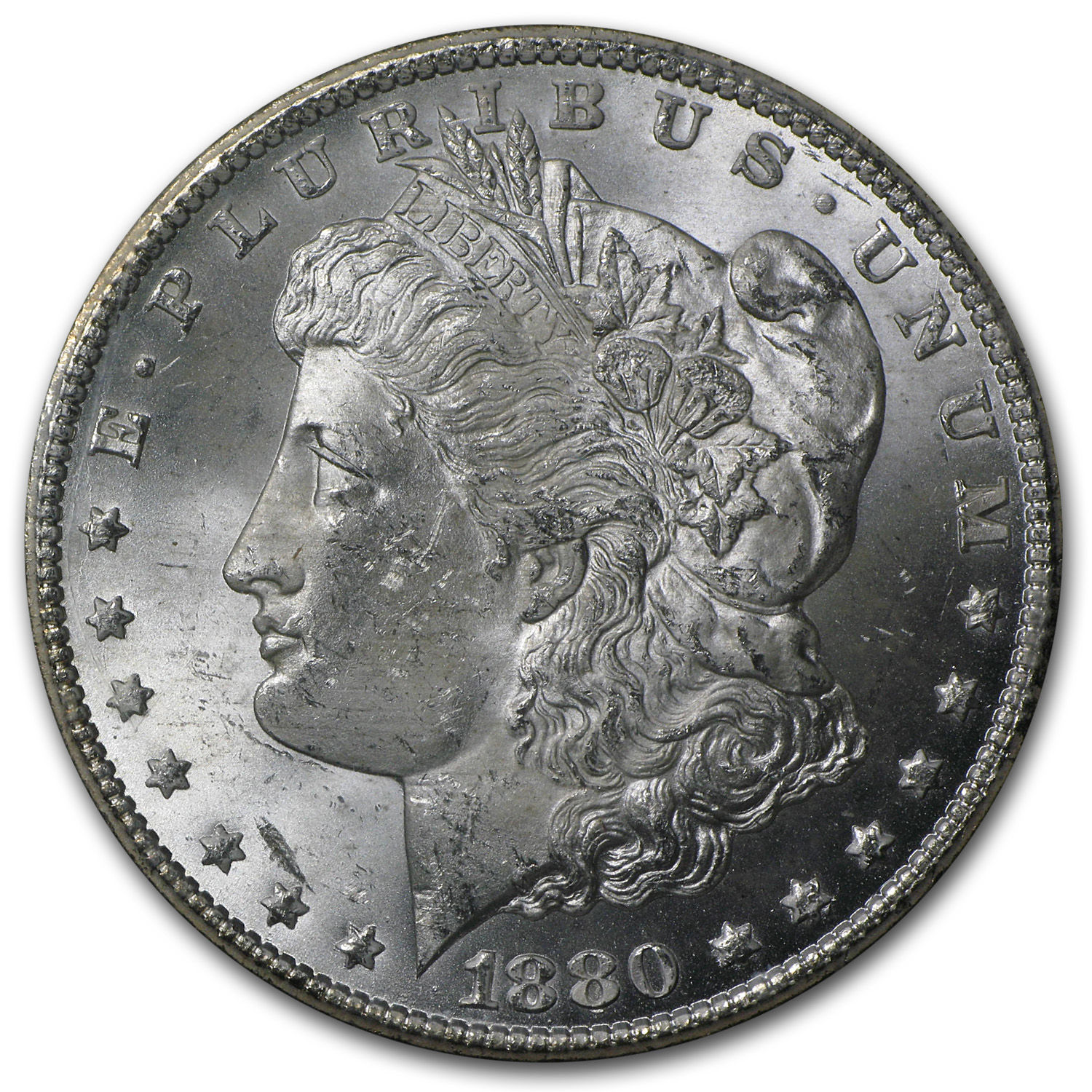 1880-CC 8/7 Morgan Dollar MS-63 NGC (VAM-9, GSA Certified)