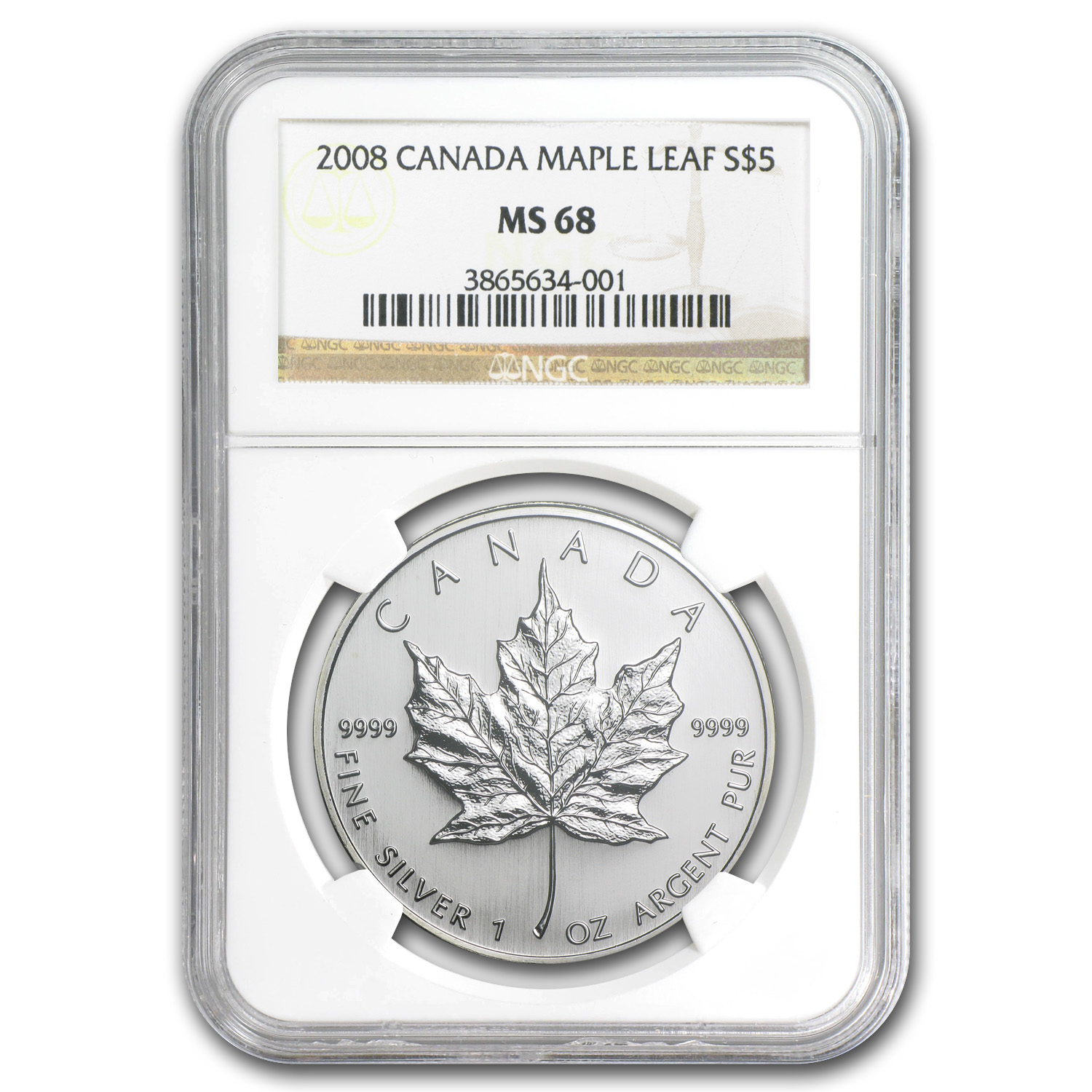 2008 1 oz Silver Canadian Maple Leaf MS-68 NGC