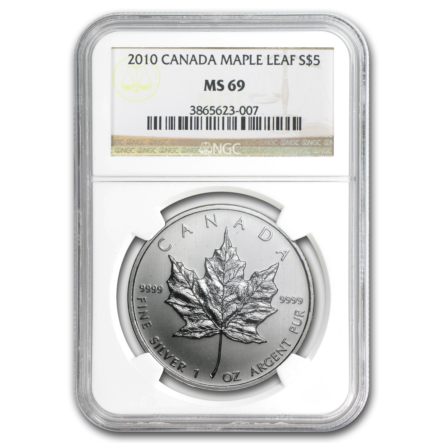 2010 1 oz Silver Canadian Maple Leaf MS-69 NGC