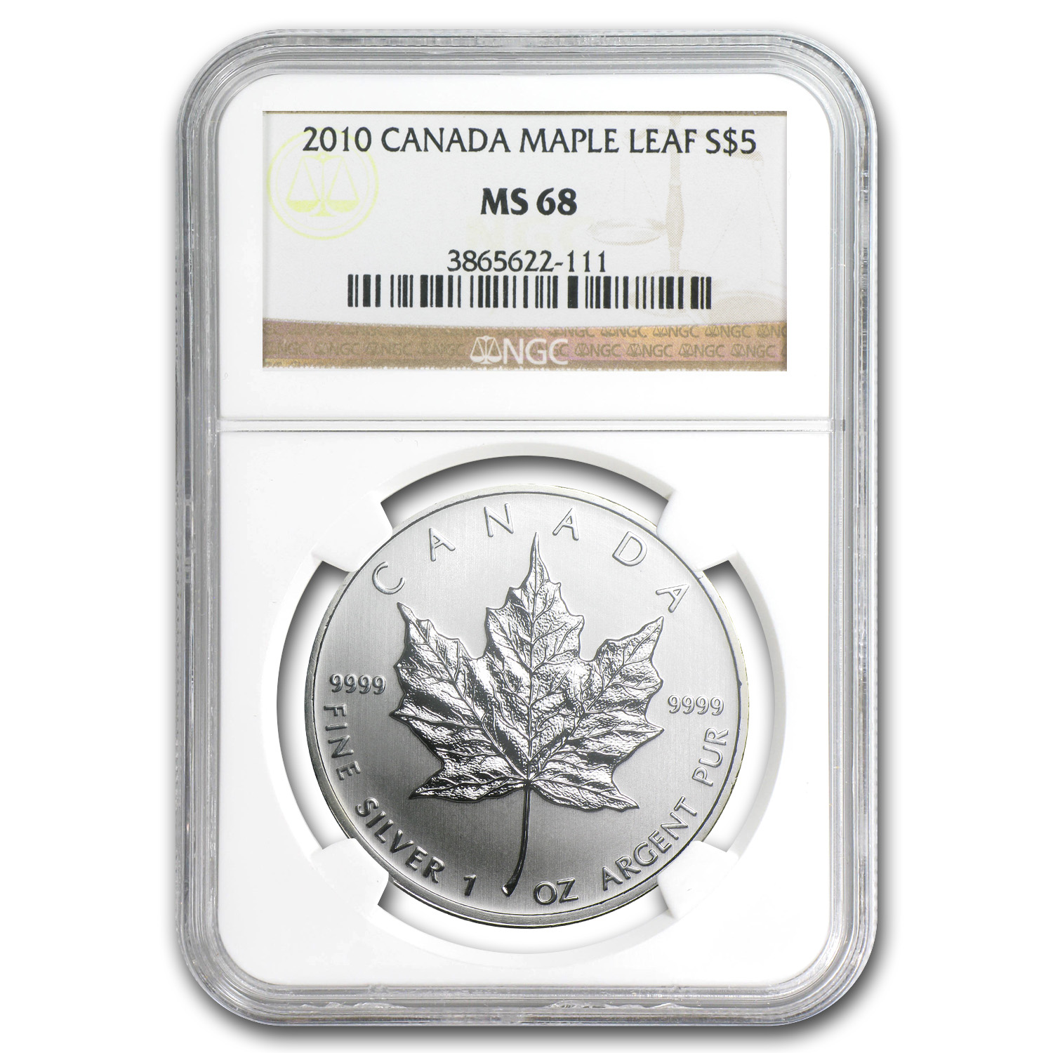 2010 Canada 1 oz Silver Maple Leaf MS-68 NGC