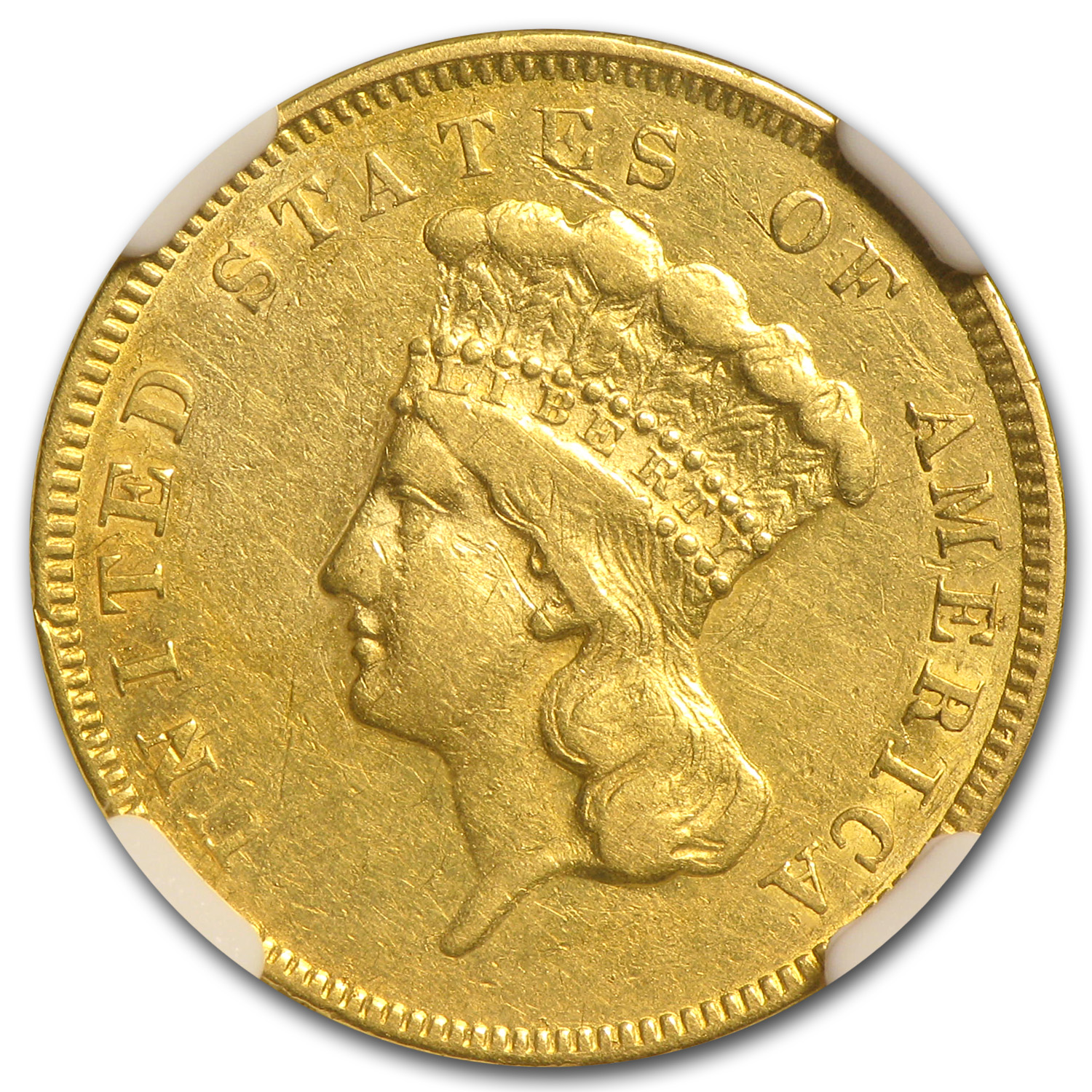 1855 $3 Gold Princess - Extra Fine Details - NGC - (Rev Scratch)