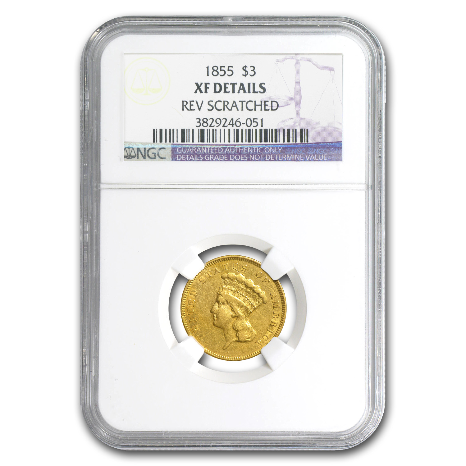 1855 $3 Gold Princess XF Details NGC (Rev Scratch)