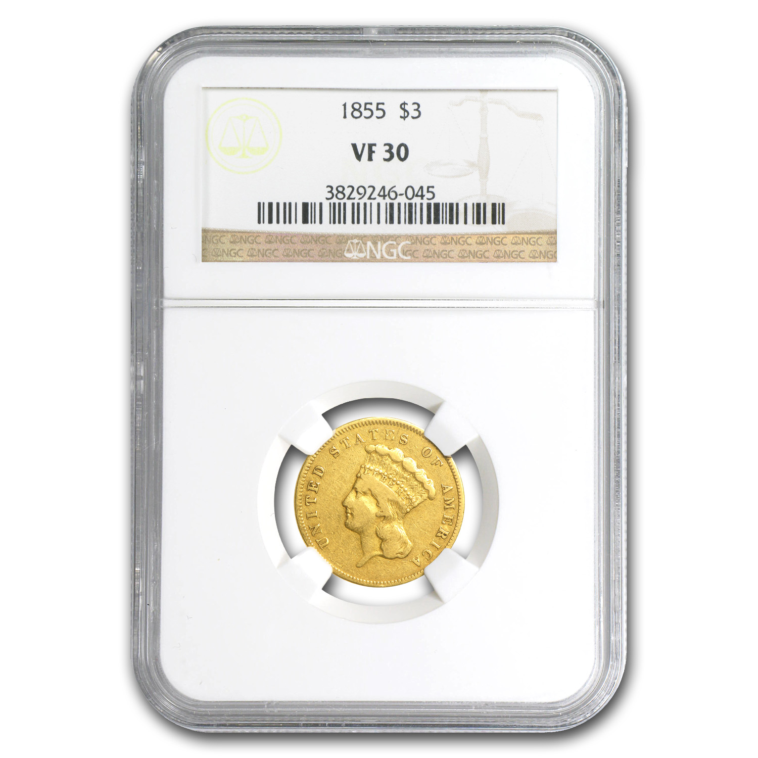 1855 $3 Gold Princess VF-30 NGC