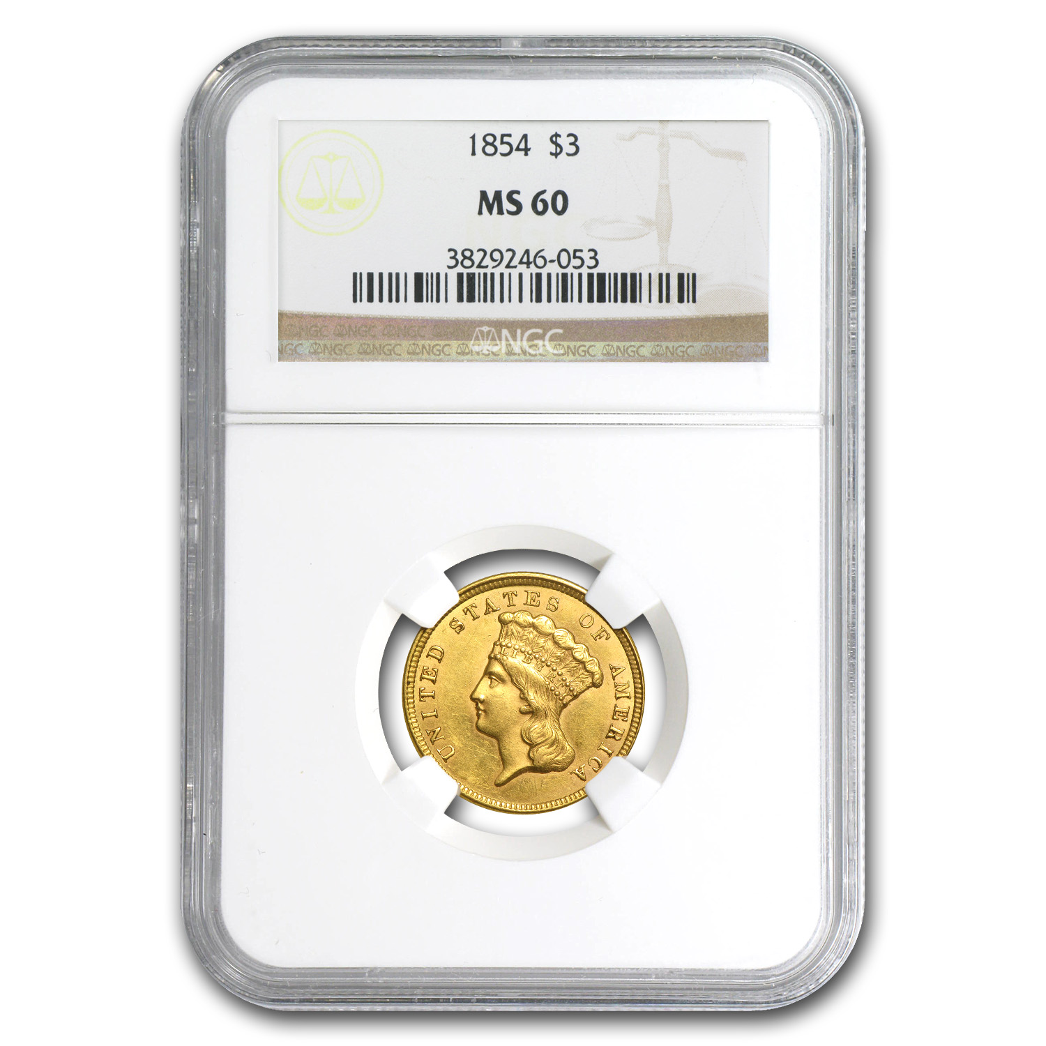 1854 $3 Gold Princess - MS-60 NGC
