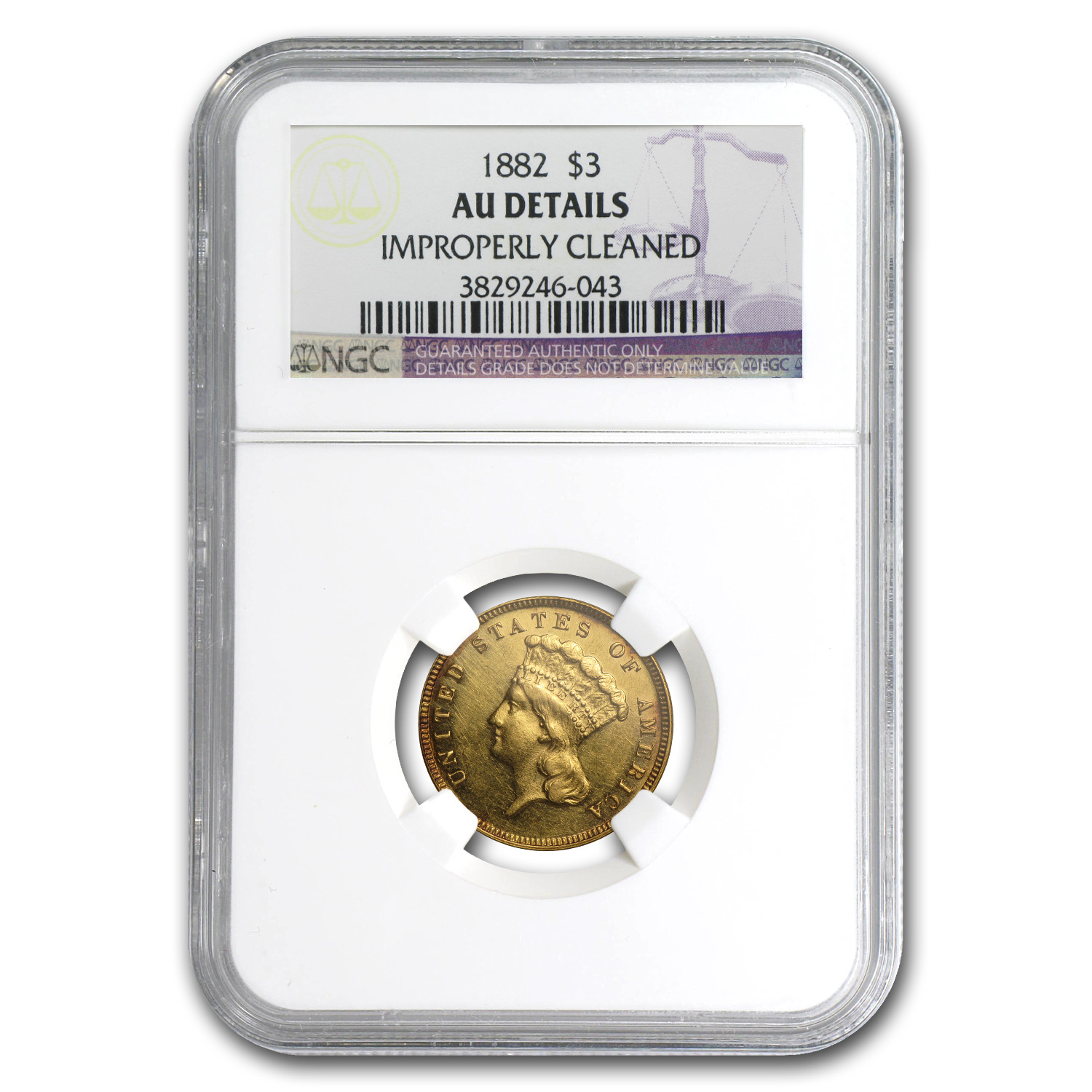 1882 $3 Gold Princess - AU Details NGC - (Cleaned)