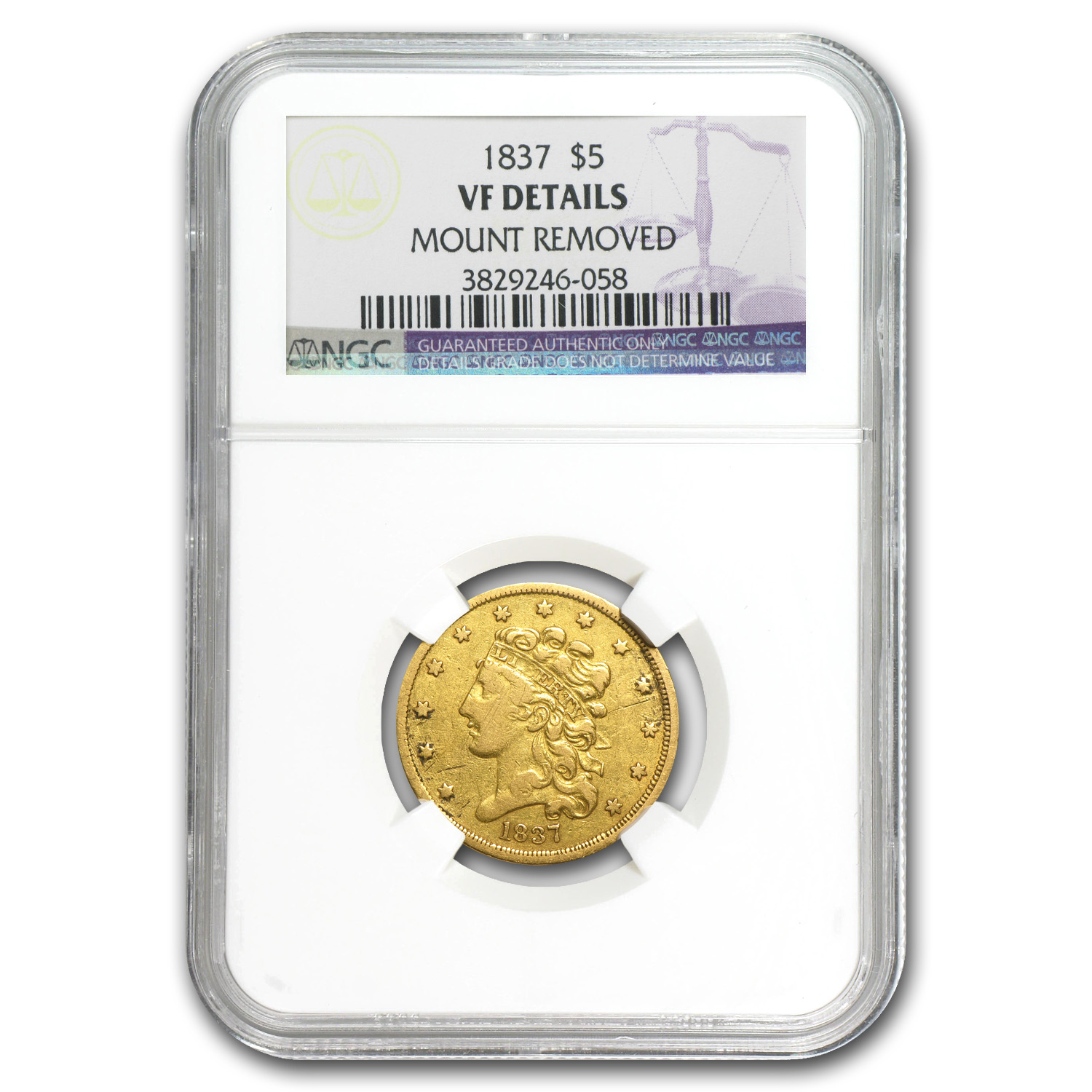 1837 $5 Gold Classic Head Half Eagle VF Details NGC
