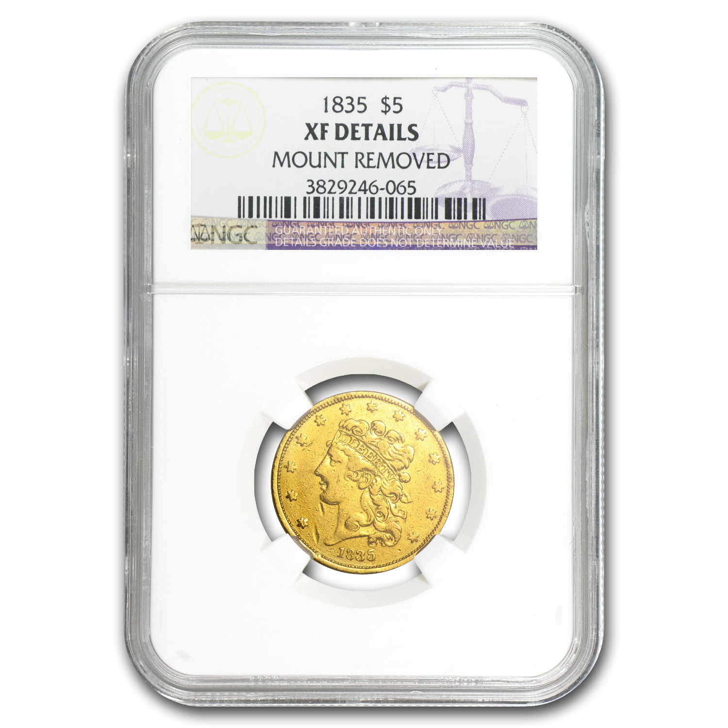 1835 $5 Gold Classic Head Half Eagle XF Details NGC (Mount Rmvd)