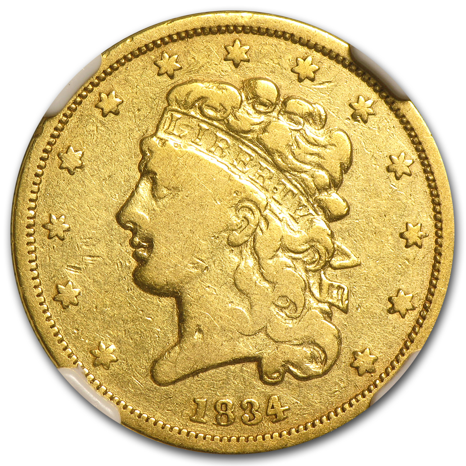 1834 $5 Gold Classic Head Half Eagle - Plain 4 - VF-20 NGC